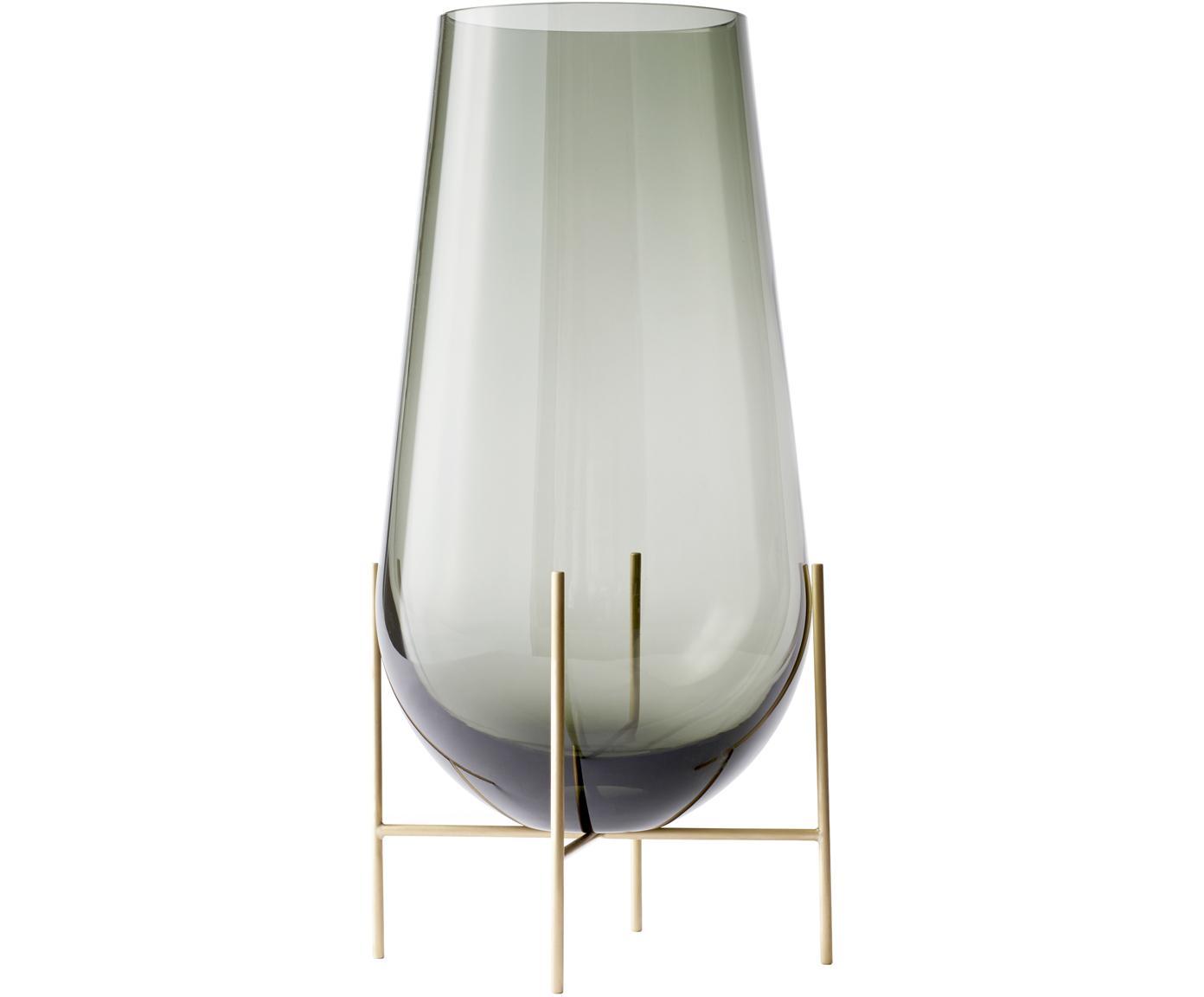 Jarrón de vidrio soplado de diseño Échasse, Estructura: latón, Jarrón: vidrio, soplado artesanal, Latón, gris, Ø 15 x Al 28 cm