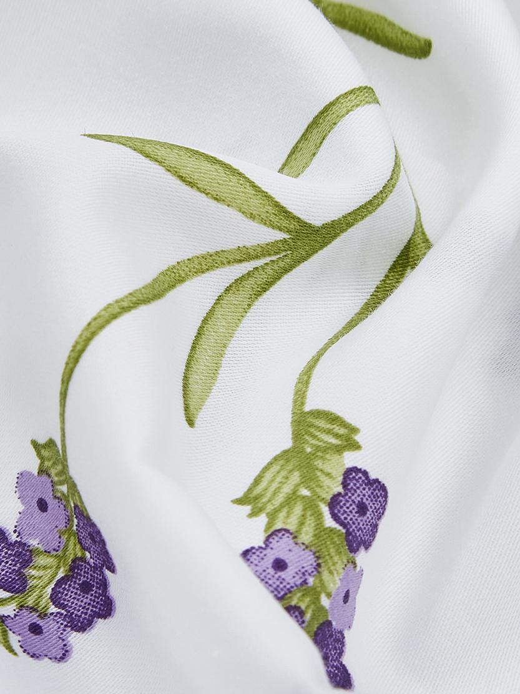 Housse de couette réversible en satin de coton Songe, Blanc, vert, lilas, rose vif
