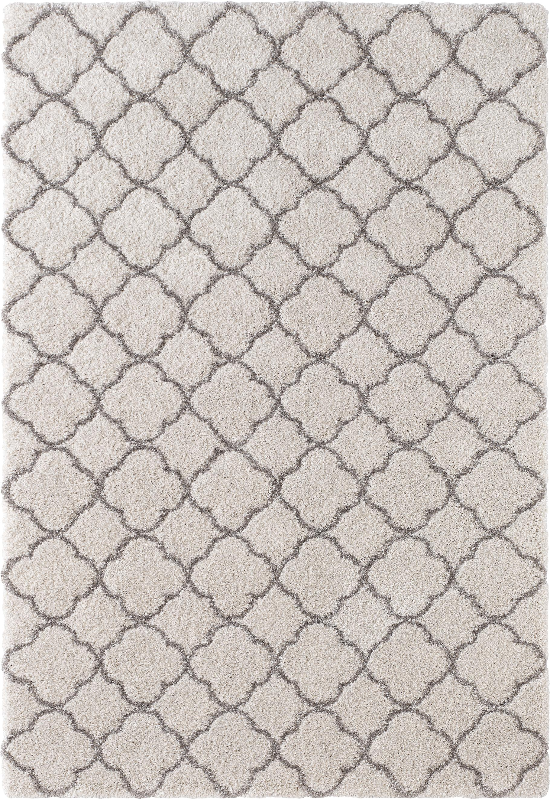 Hochflor-Teppich Luna in Creme/Grau, Flor: 100% Polypropylen, Creme, Grau, B 80 x L 150 cm (Größe XS)