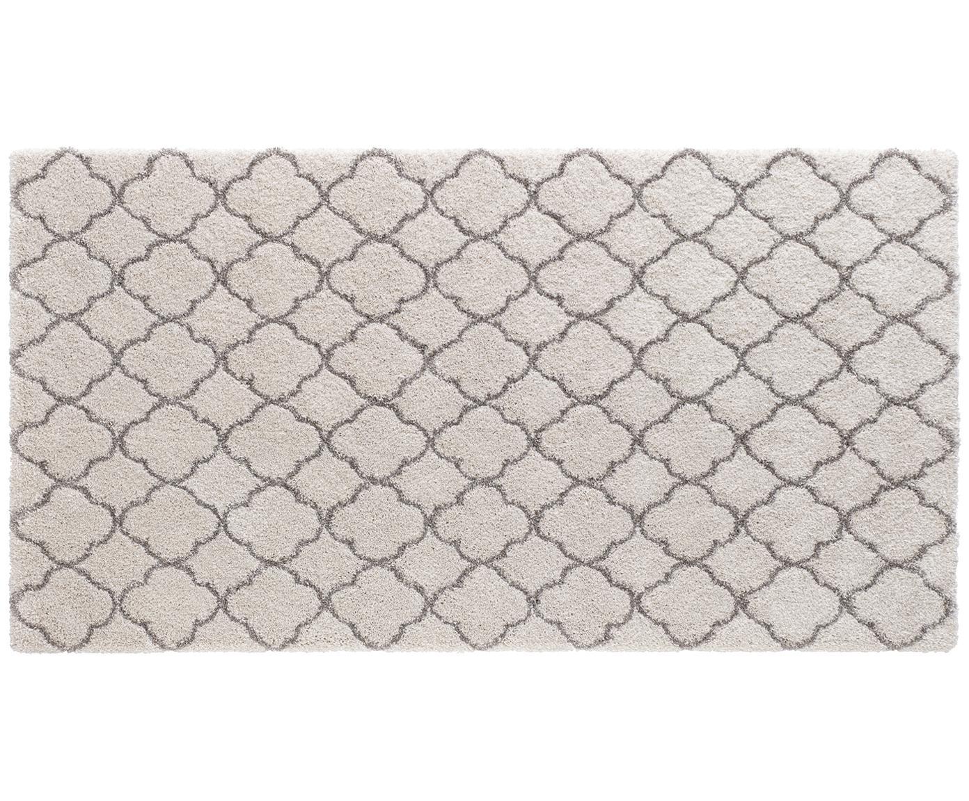 Hochflor-Teppich Grace in Creme/Grau, Flor: 100% Polypropylen, Creme, Grau, B 80 x L 150 cm (Größe XS)
