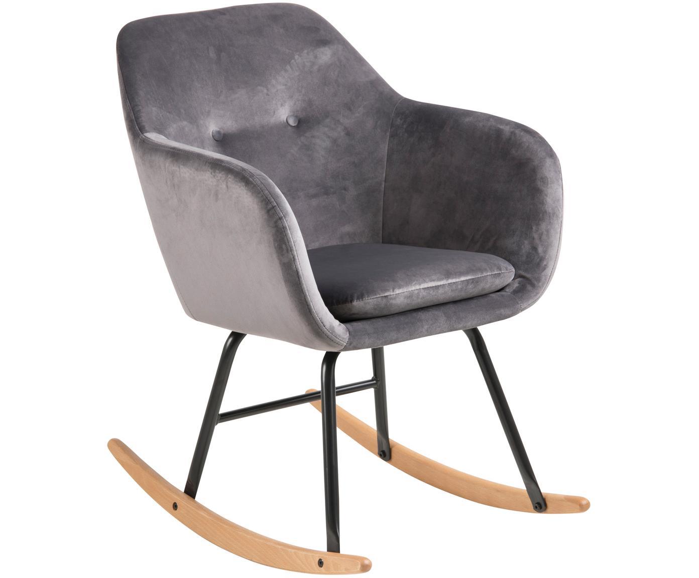 Fluwelen schommelstoel Emilia in grijs, Bekleding: polyester (fluweel), Poten: gepoedercoat metaal, Poten: mat zwart. Slede: beukenhout. Bekleding: grijs, 57 x 81 cm