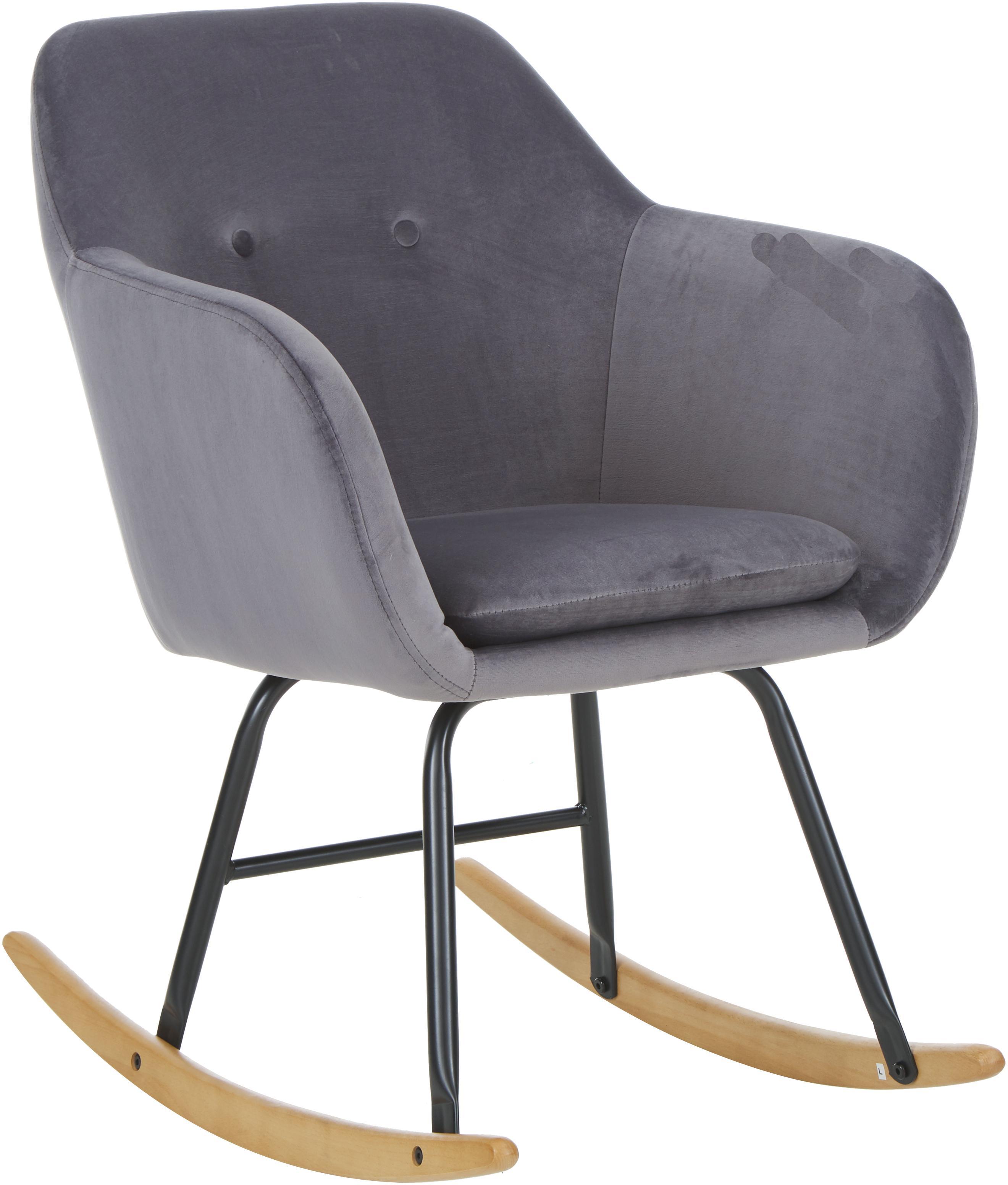 Samt-Schaukelstuhl Emilia in Grau, Bezug: Polyester (Samt) 25.000 S, Beine: Metall, pulverbeschichtet, Samt Grau, 57 x 81 cm