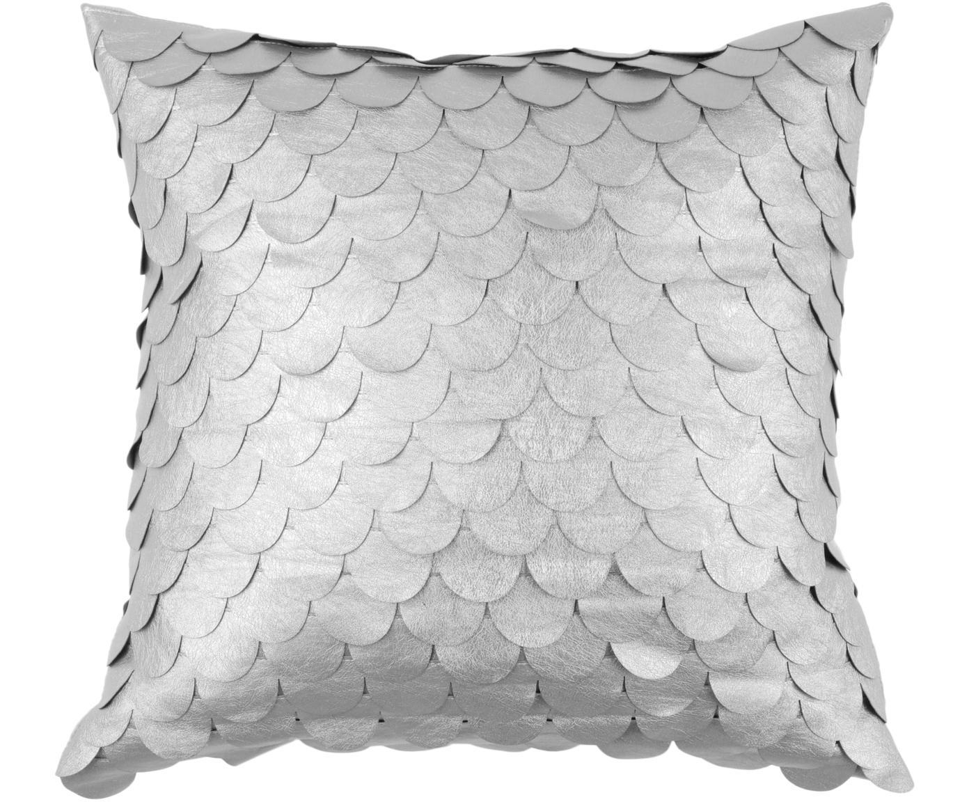 Schimmerndes Kissen Gasby Chic, mit Inlett, Bezug: 50% Polyester, 50% Polyur, Silberfarben, 40 x 40 cm
