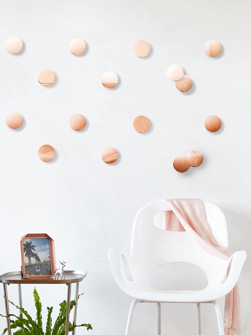 Wandschmuck-Set Confetti Dots aus Metall, 16-tlg., Metall, Kupferfarben, Ø 7 cm