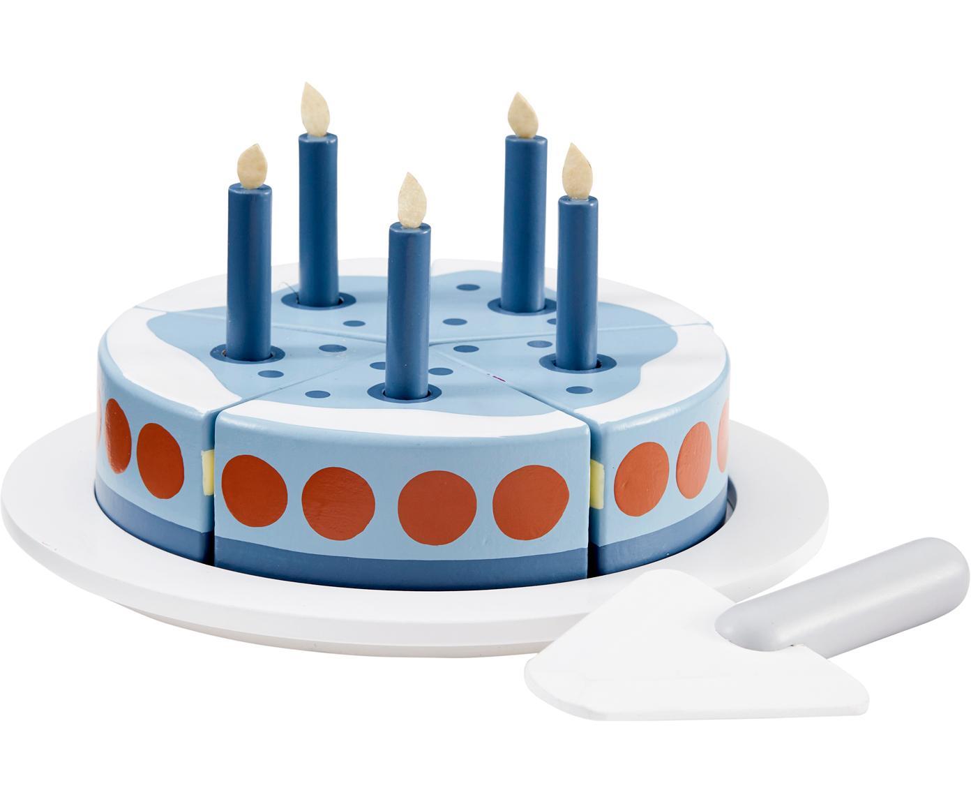 Spielzeug-Set Birthday Cake, Holz, Blau, Weiss, Rot, Ø 19 x H 10 cm