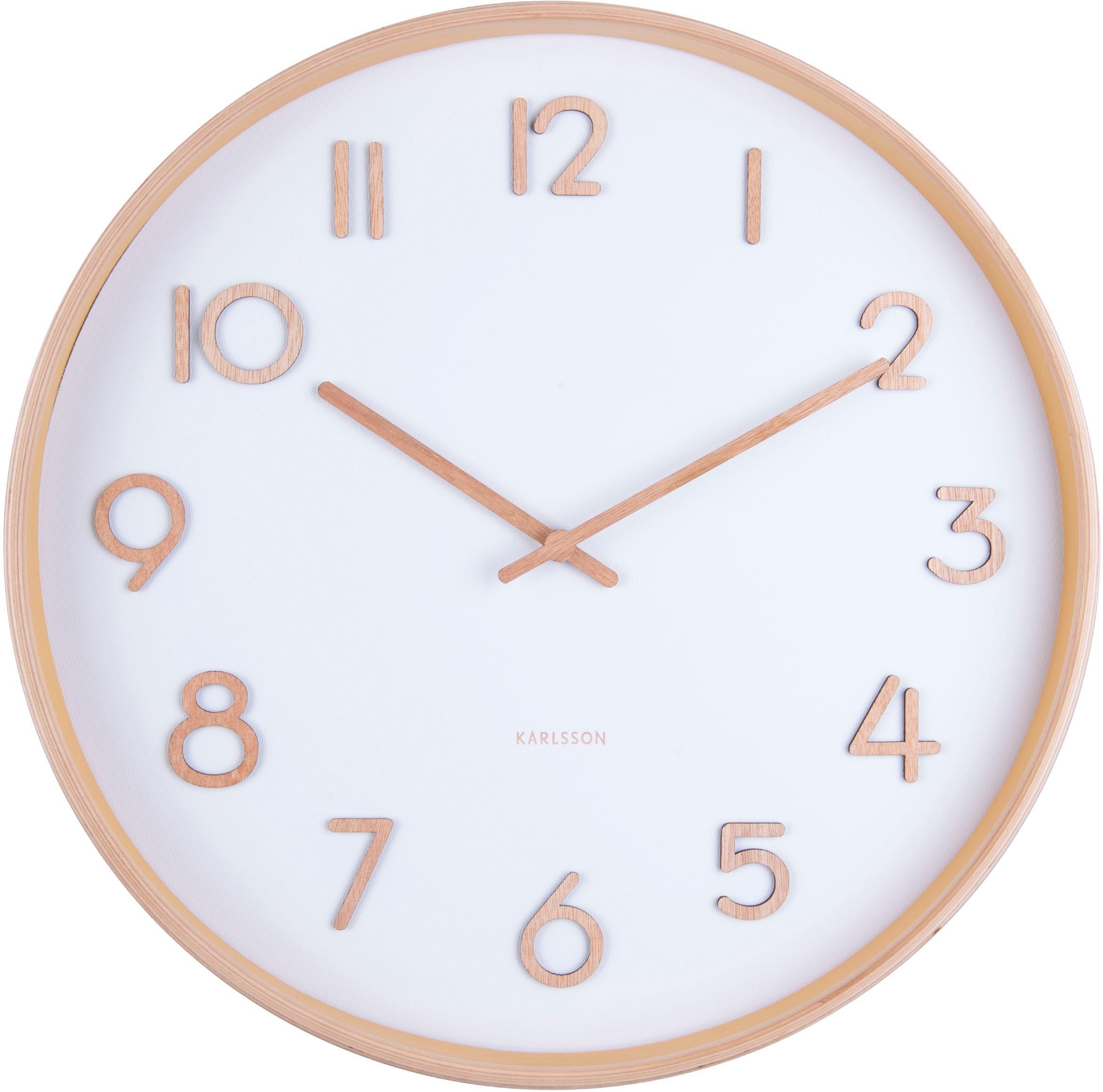 Zegar ścienny Pure, Drewno lakierowane, Biały, drewno naturalne, Ø 40 cm