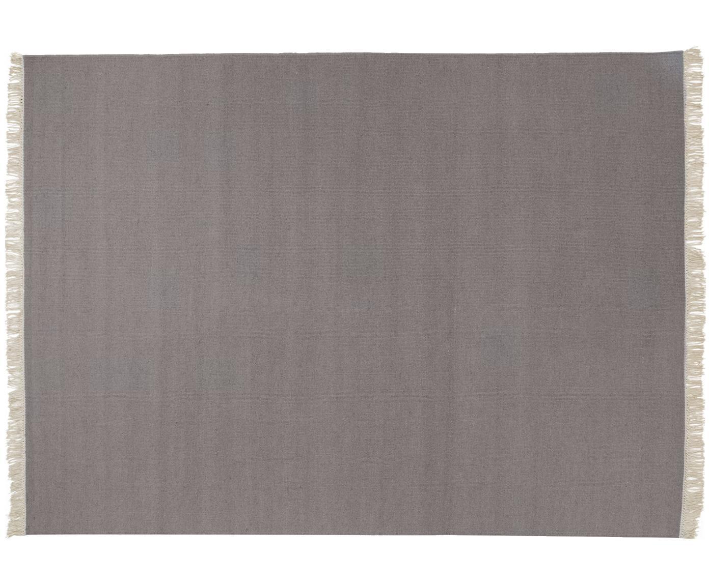Handgeweven wollen vloerkleed Rainbow in grijs met franjes, Bovenzijde: wol, Onderzijde: katoen, Lichtgrijs, B 170 x L 240 cm (maat M)