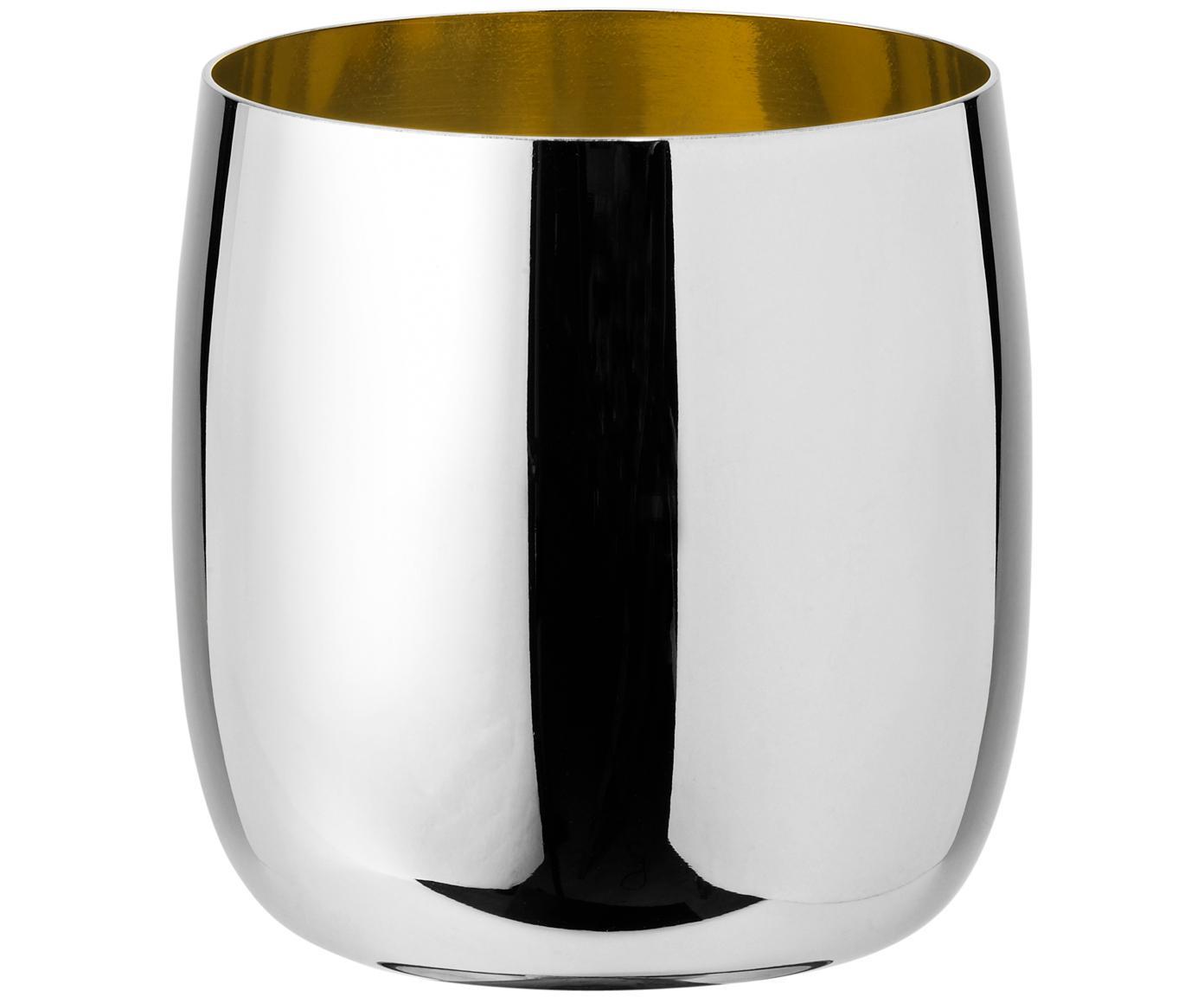 Design Weinbecher Foster in Silber/Gold, Außen: Edelstahl, spiegelpoliert, Innen: Edelstahl mit goldfarbene, Außen: Edelstahl, hochglänzendInnen: Goldfarben, 200 ml