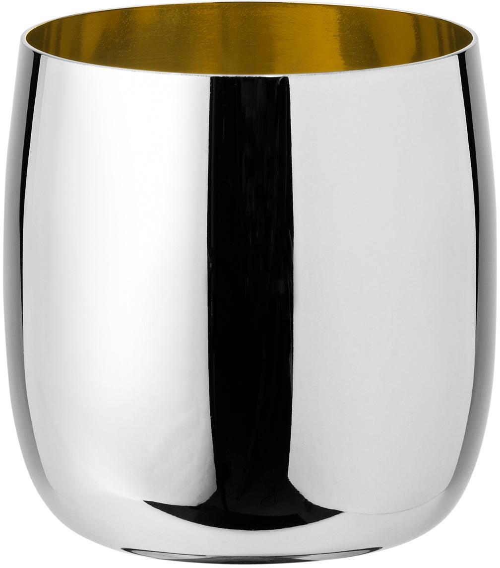 Bicchiere vino di design in argento/oro Foster, Esterno: acciaio inossidabile luci, Interno: acciaio inossidabile con , Esterno: acciaio inossidabile, lucido Interno: dorato, 200 ml