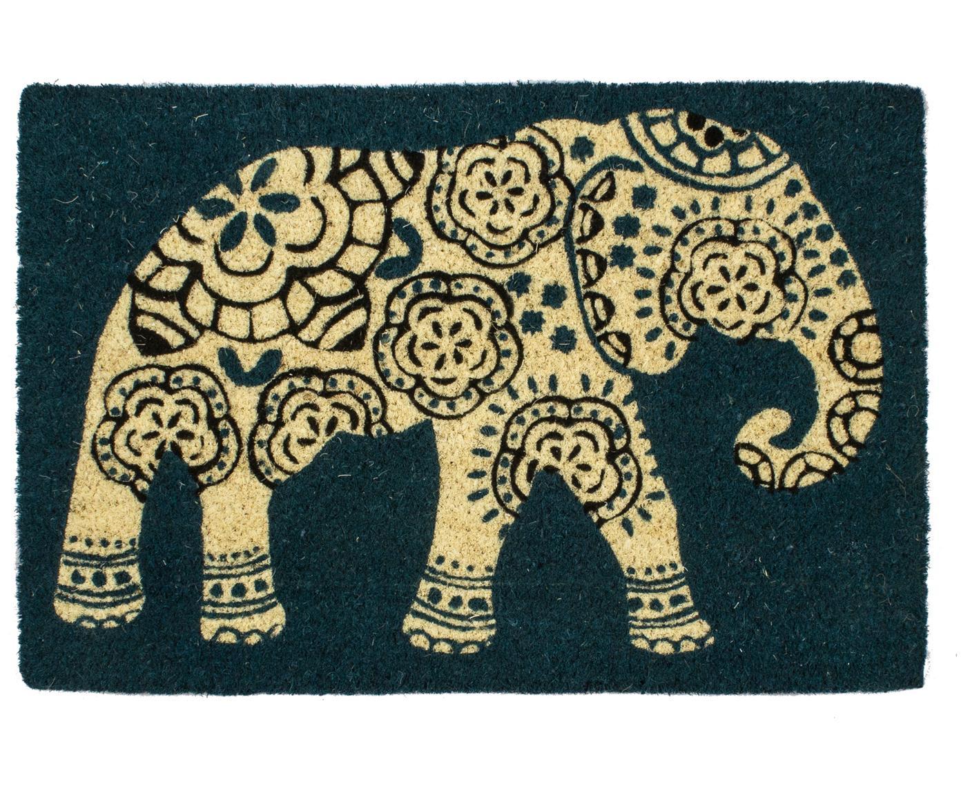 Felpudo Elephant, Parte superior: fibras de coco, Reverso: plástico (PVC), Azul petróleo, beige, negro, An 40 x L 60 cm