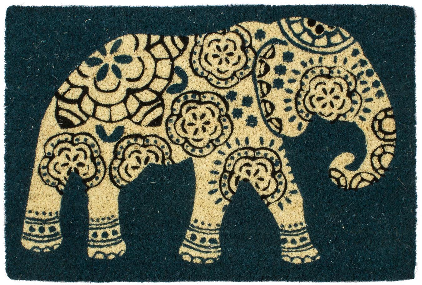 Fußmatte Elephant, Oberseite: Kokosfaser, Unterseite: Kunststoff (PVC), Petrol, Beige, Schwarz, 40 x 60 cm