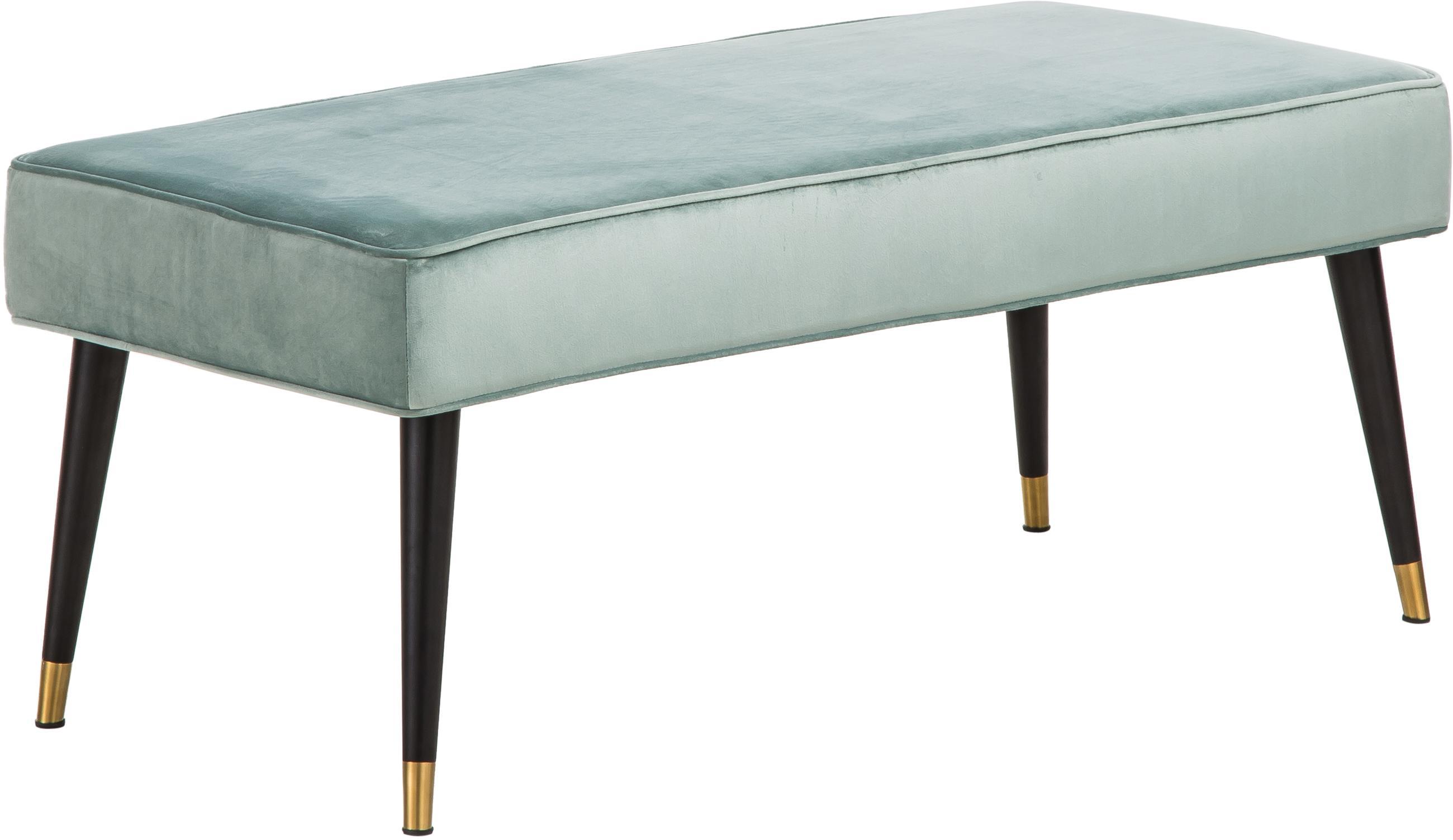 Samt-Sitzbank Beverly, Bezug: Samt (Polyester) 50.000 S, Gestell: Eukalyptusholz, Beine: Metall, pulverbeschichtet, Türkis, 110 x 46 cm