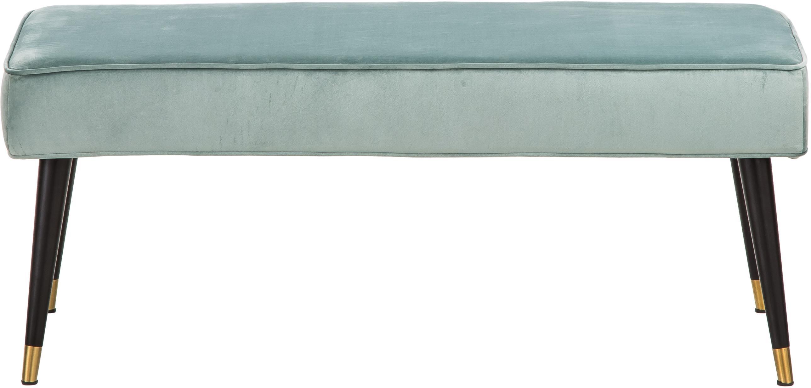 Samt-Sitzbank Beverly, Bezug: Samt (Polyester) 50.000 S, Gestell: Eukalyptusholz, Beine: Metall, pulverbeschichtet, Türkis, B 110 x H 46 cm
