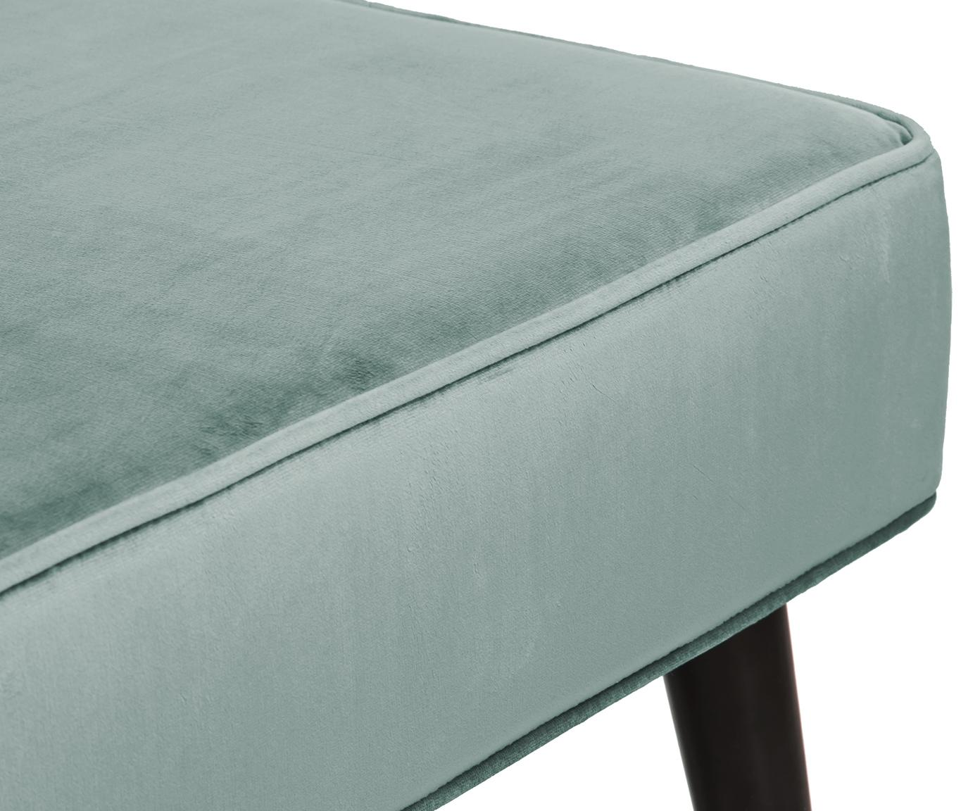 Fluwelen bank Beverly, Bekleding: fluweel (polyester), Frame: eucalyptushout, Poten: gepoedercoat metaal, Turquoise, 110 x 46 cm