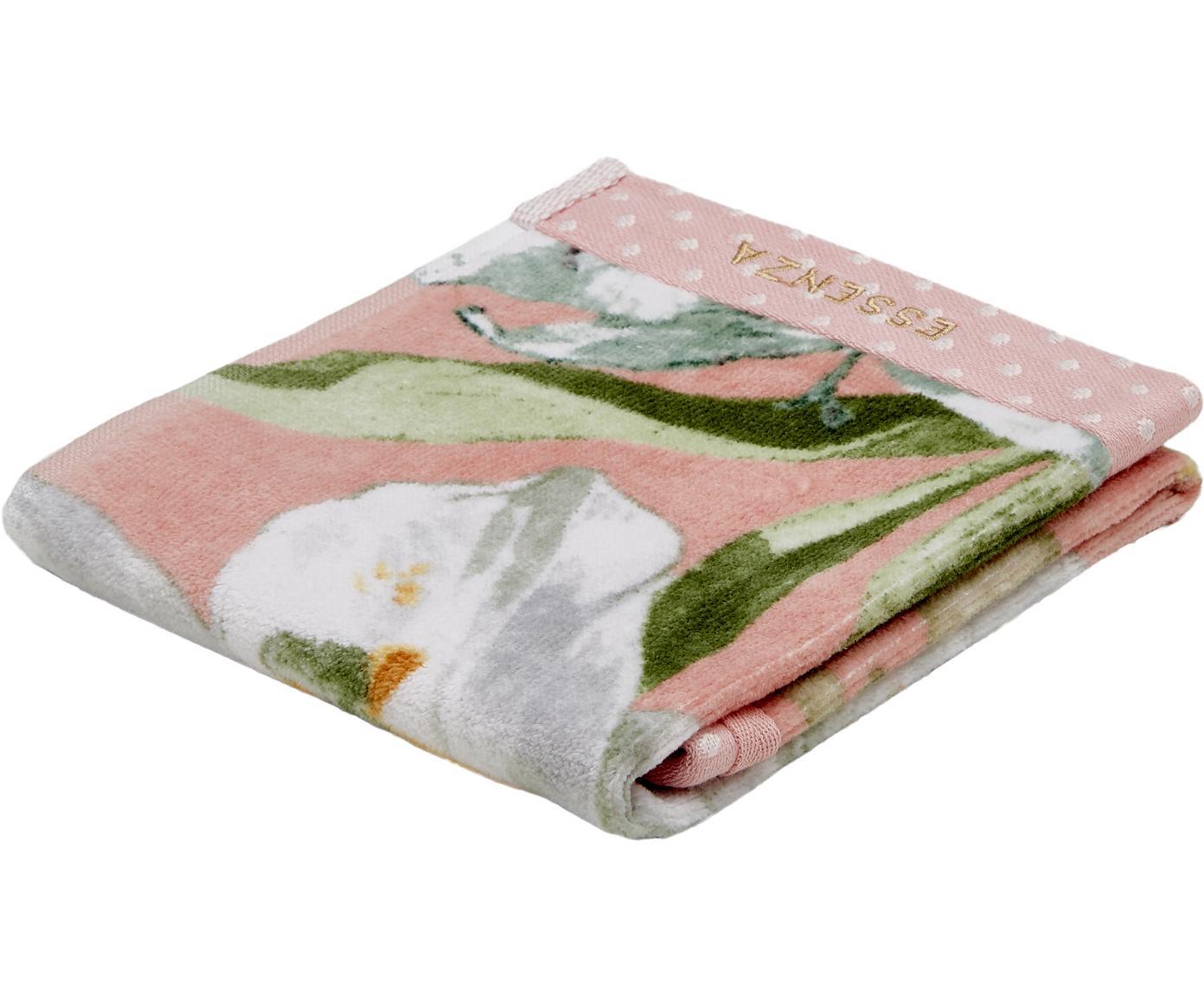 Handdoek Rosalee met bloemenpatroon, Katoen, Roze, wit, groen, oranje, Gastendoekje