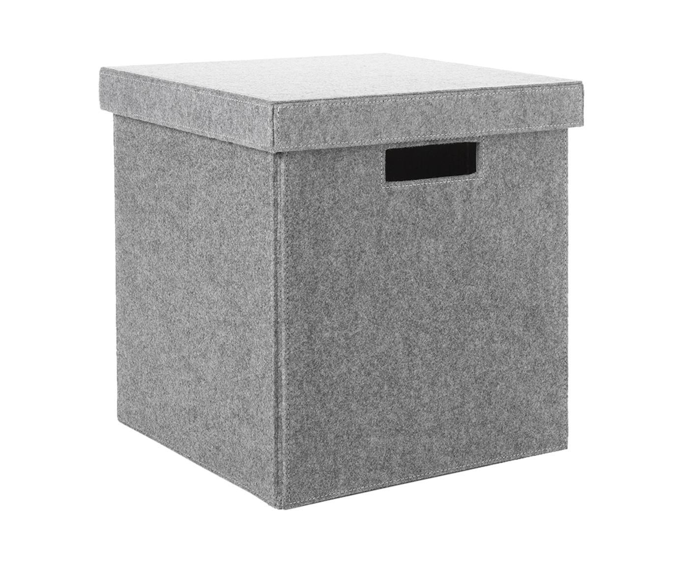 Pudełko do przechowywania Lena, Filc wykonany z tworzywa tworzywa pochodzącego z recyklingu, Jasnoszary, W 32 x S 32 cm