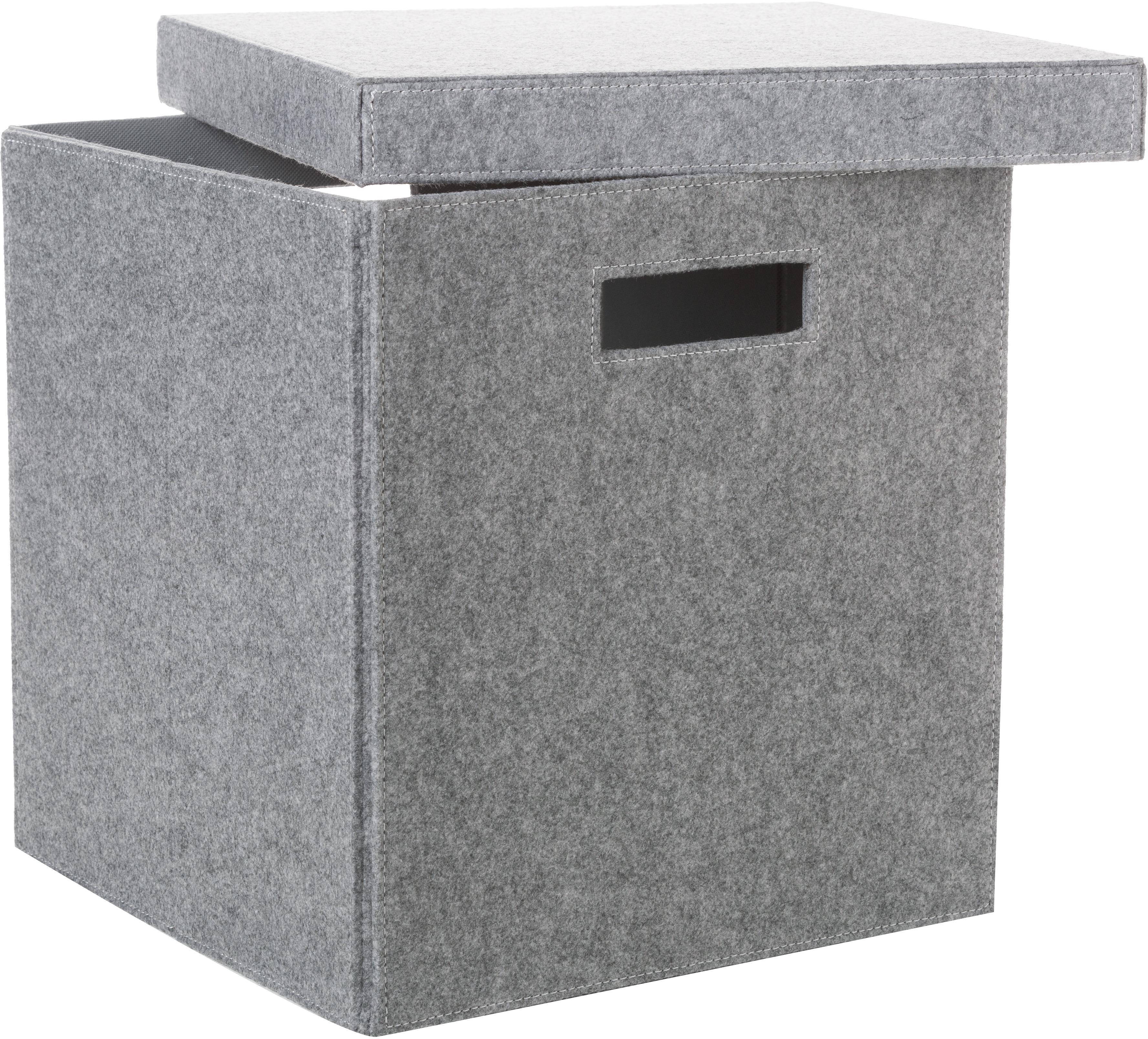 Aufbewahrungsbox Lena, Filz aus recyceltem Kunststoff, Grau, 32 x 32 cm