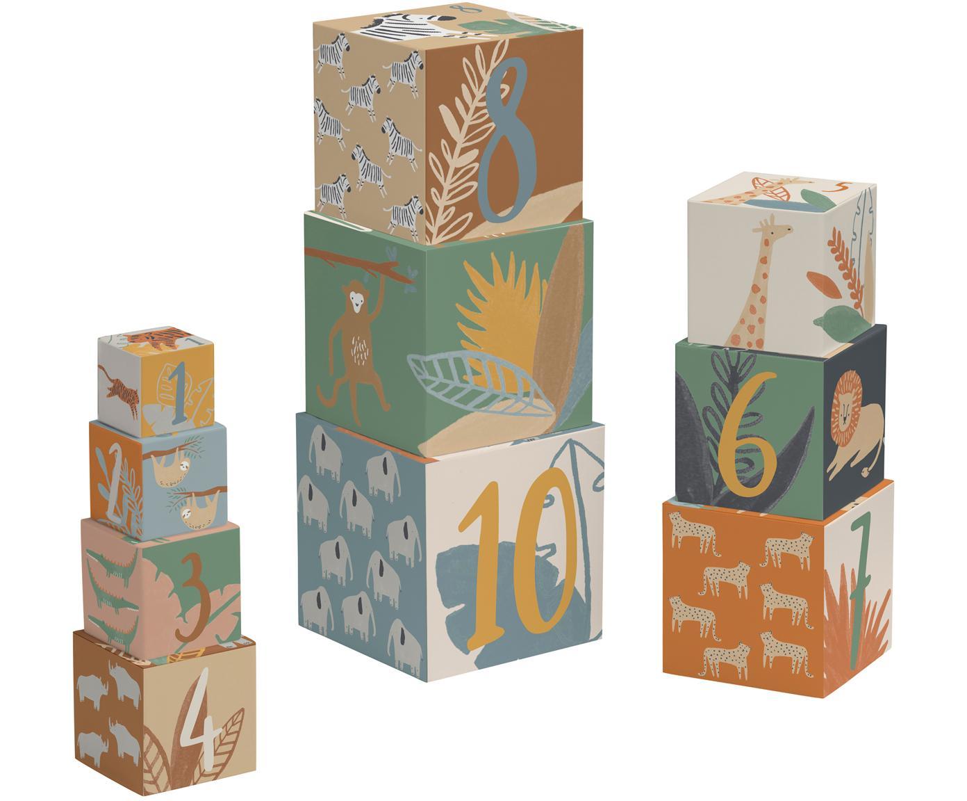 Stapelwürfel-Set Wildlife, 10-tlg., Fester Karton, Mehrfarbig, 13 x 13 cm