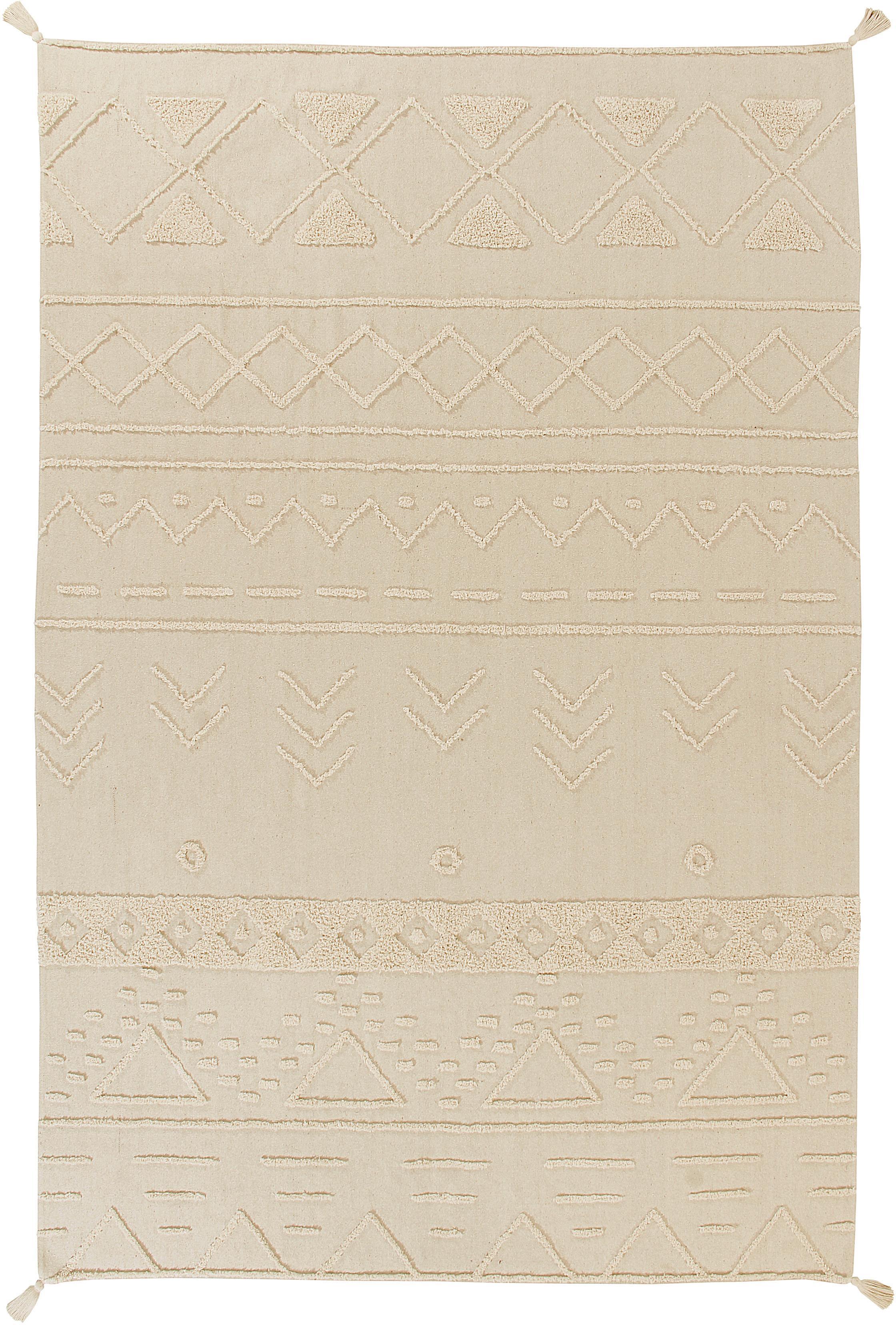 Tappeto in cotone con motivo taftato Tribu, 97% cotone riciclato, 3% altre fibre, Crema, Larg. 170 x Lung. 240 cm