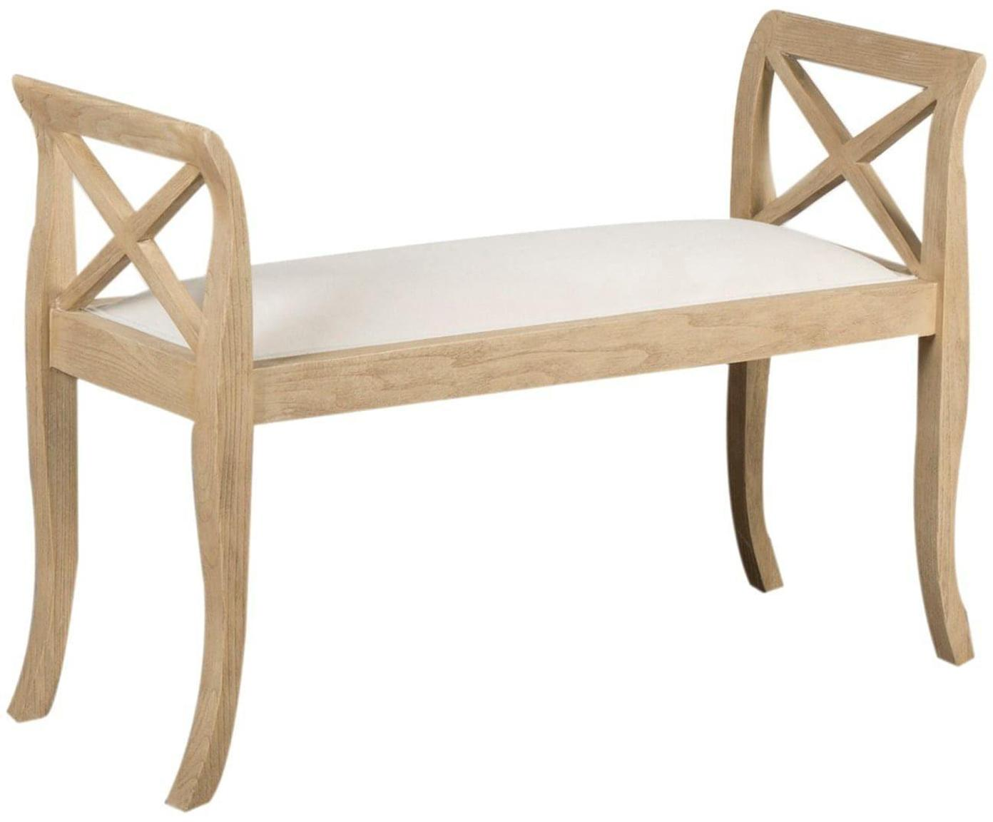 Banco de madera de roble Colony, Tapizado: algodón, Estructura: madera de roble pintada, Blanco, beige, An 92 x Al 64 cm