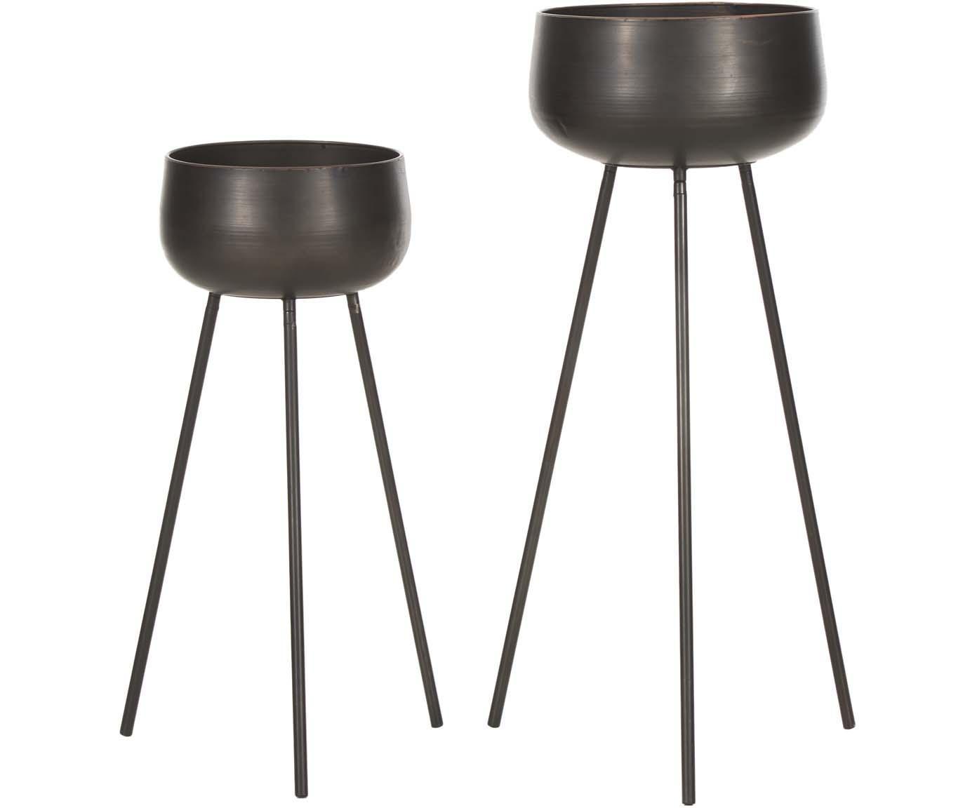 Übertopfe-Set Chimp, 2-tlg., Metall, beschichtet, Schwarz, Sondergrößen