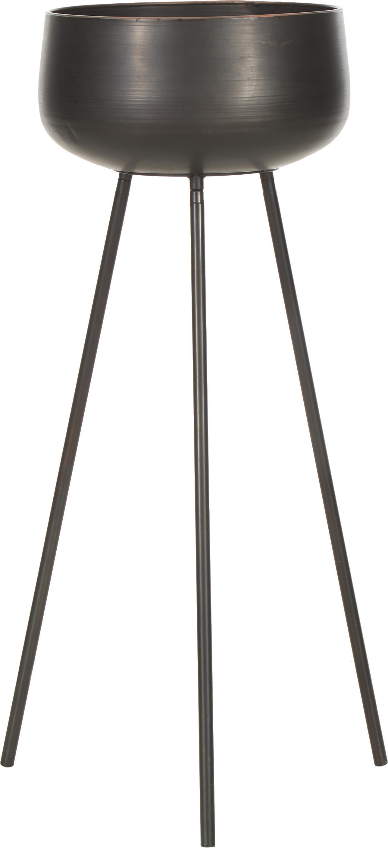 Set 2 portavasi in metallo Chimp, Metallo rivestito, Nero, Set in varie misure