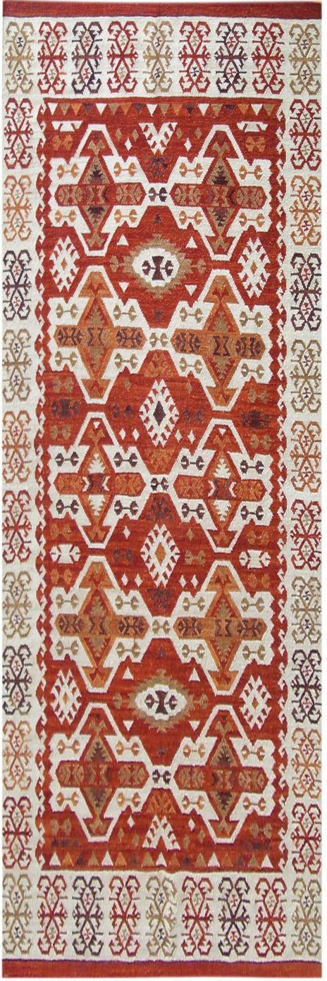 Alfombra artesanal de lana Ria, 100%lana, Rojo, crema, marrón, An 80 x L 250cm