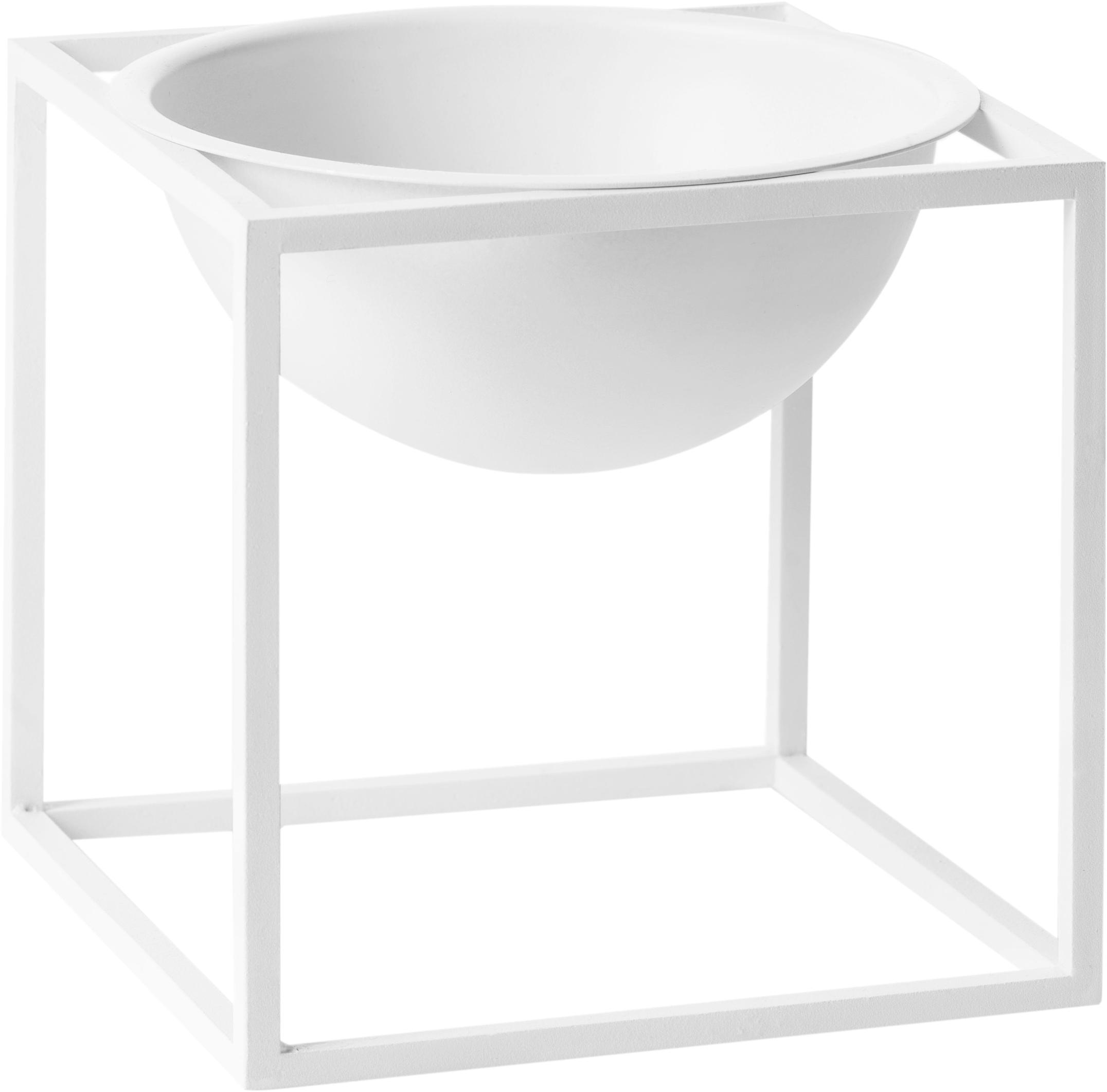 Schaal Kubus, Gelakt staal, Wit, 14 x 14 cm