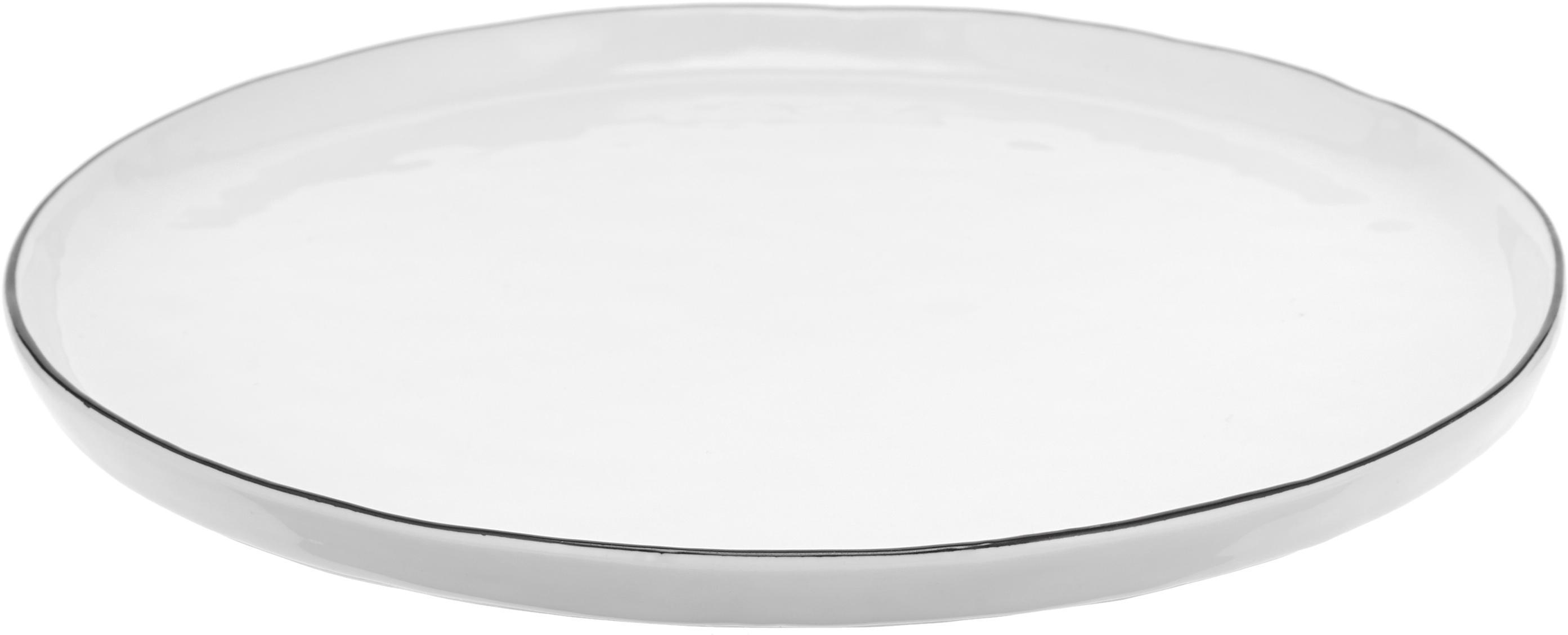 Piatto da colazione fatto a mano Salt 4 pz, Porcellana, Bianco latteo, nero, Ø 22 cm