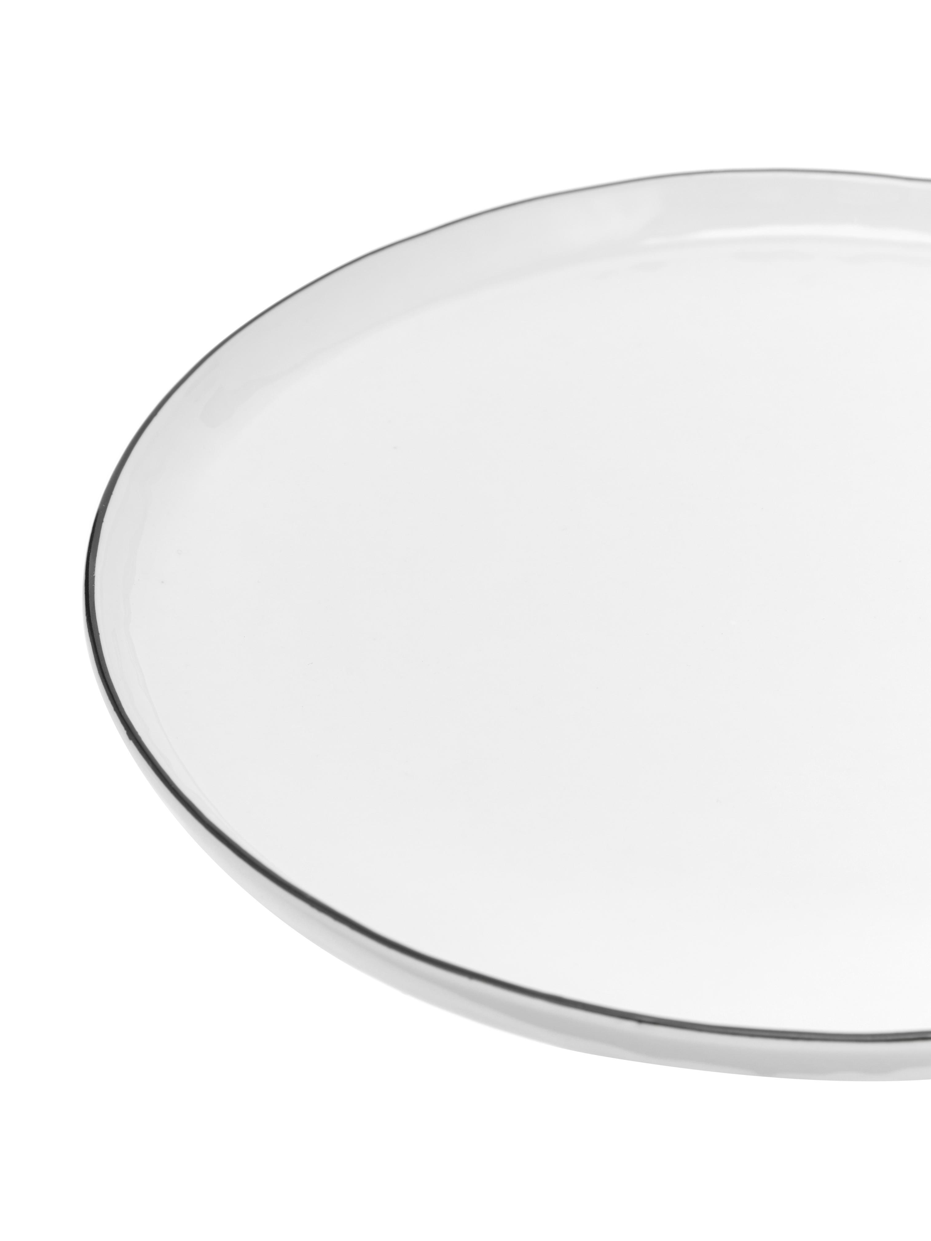 Piattino da dessert fatto a mano Salt 4 pz, Porcellana, Bianco latteo, nero, Ø 22 cm