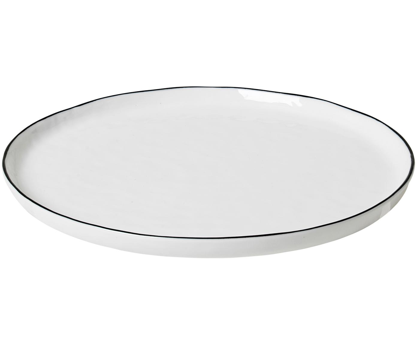 Handgemaakte ontbijtborden Salt, 4 stuks, Porselein, Gebroken wit, zwart, Ø 22 cm
