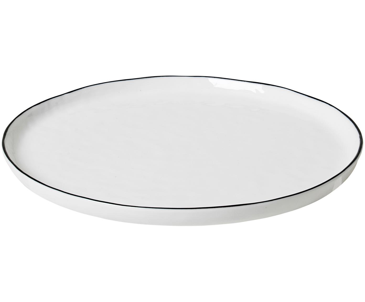 Handgemachte Frühstücksteller Salt, 4 Stück, Porzellan, Gebrochenes Weiss, Schwarz, Ø 22 cm