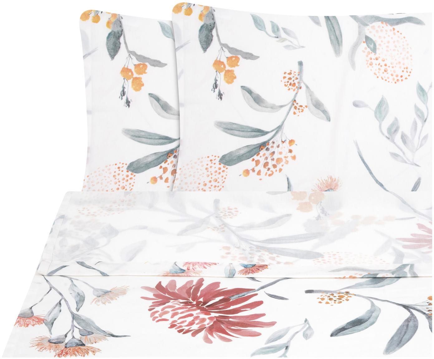 Set lenzuola in raso di cotone Evie 2 pz, Tessuto: raso Densità del filo 210, Stampa floreale, bianco, 240 x 300 cm