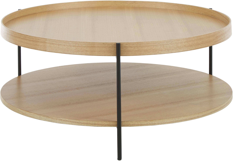 Großer Couchtisch Renee mit Ablagefach, Gestell: Metall, pulverbeschichtet, Tischplatten: EichenholzGestell: Schwarz, matt, Ø 90 x H 39 cm