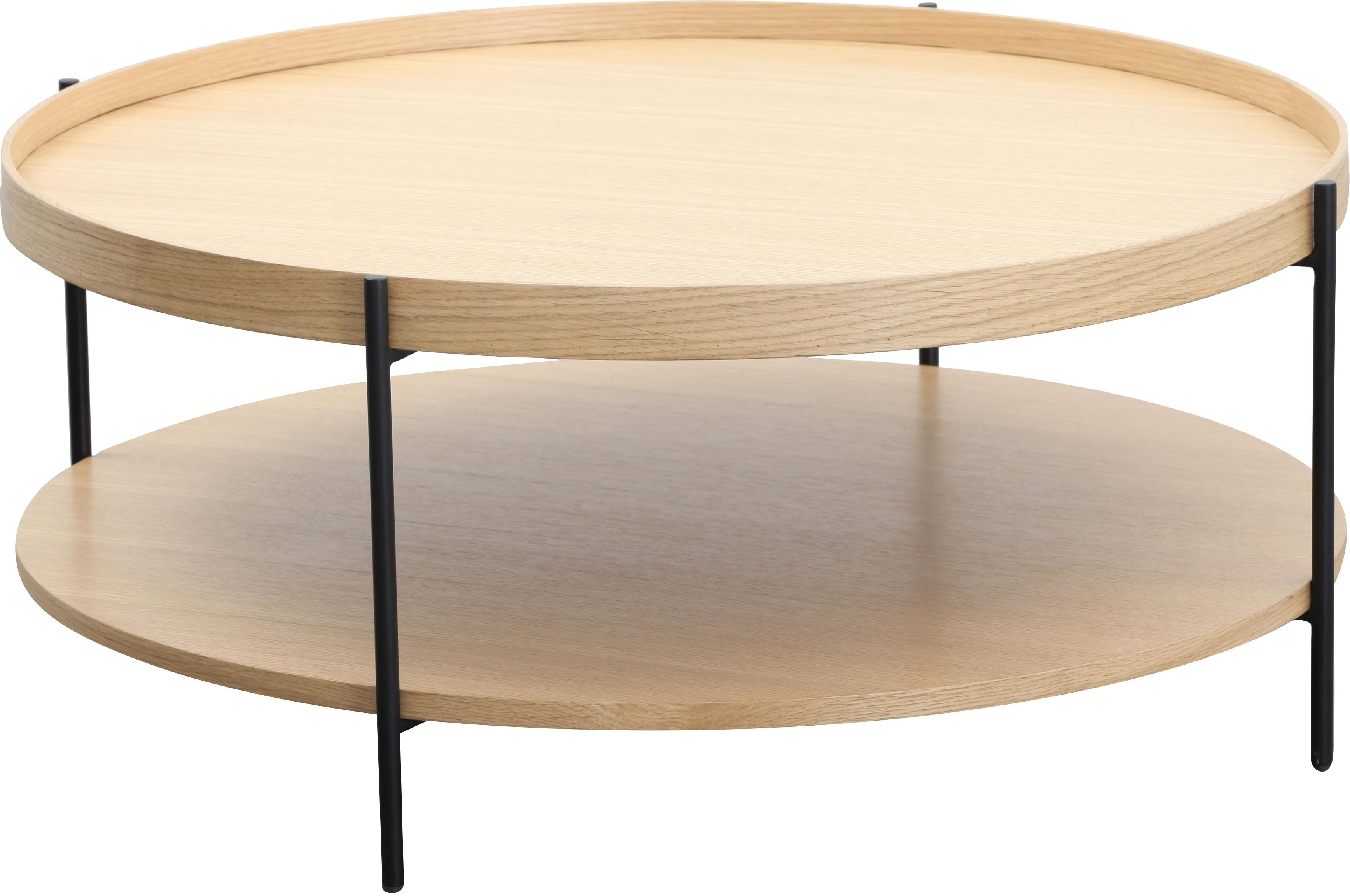 Großer Couchtisch Renee mit Ablagefach, Gestell: Metall, pulverbeschichtet, Tischplatten: EschenholzGestell: Schwarz, matt, Ø 90 x H 39 cm