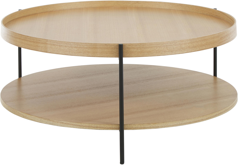 Mesa de centro grande con estante Renee, Tablero: tablero de fibras de dens, Estructura: metal con pintura en polv, Tablero: roble Estructura: negro mate, Ø 90 x Al 39 cm