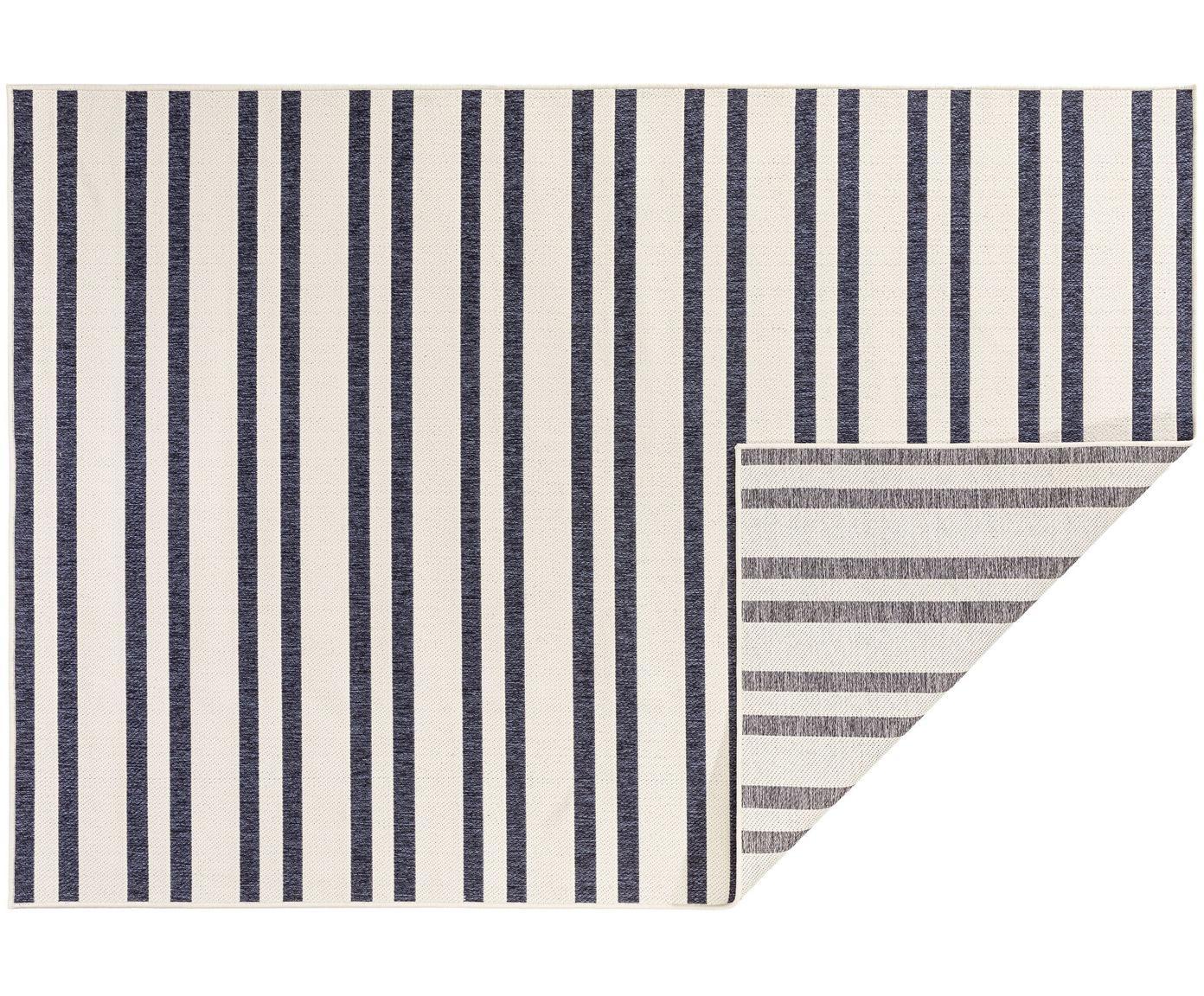 Gestreept in- & outdoor vloerkleed Terrazzo, Polypropyleen, Grijs, blauw, B 160 x L 235 cm (maat M)