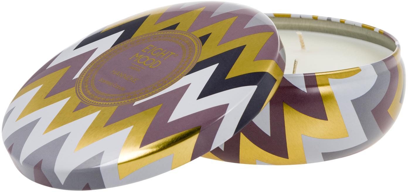 Geurkaars Hanneke (mandarijn & vijgen), Houder: metaal, Houder: multicolour.  Was: wit, Ø 13 x H 6 cm