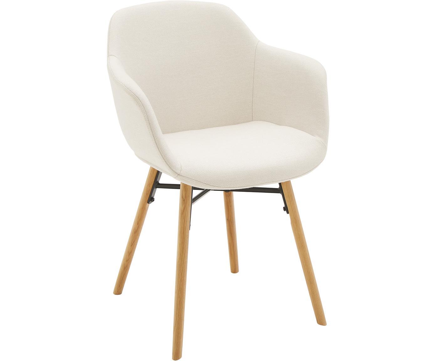 Armlehnstuhl Fiji mit Holzbeinen, Bezug: Polyester 40.000 scheuert, Beine: Massives Eichenholz, Sitzschale: Cremeweiß Beine: Eichenholz, B 59 x T 55 cm