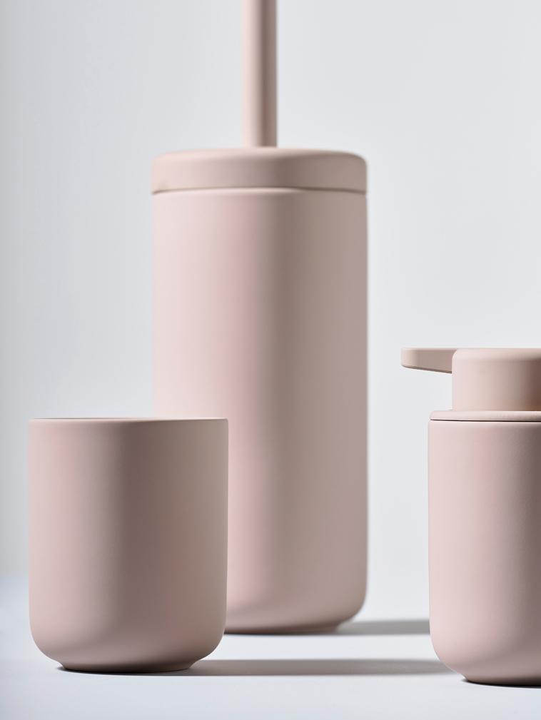 Toilettenbürste Ume mit Steingut-Behälter, Behälter: Steingut überzogen mit So, Griff: Kunststoff, Altrosa, matt, Ø 10 x H 39 cm