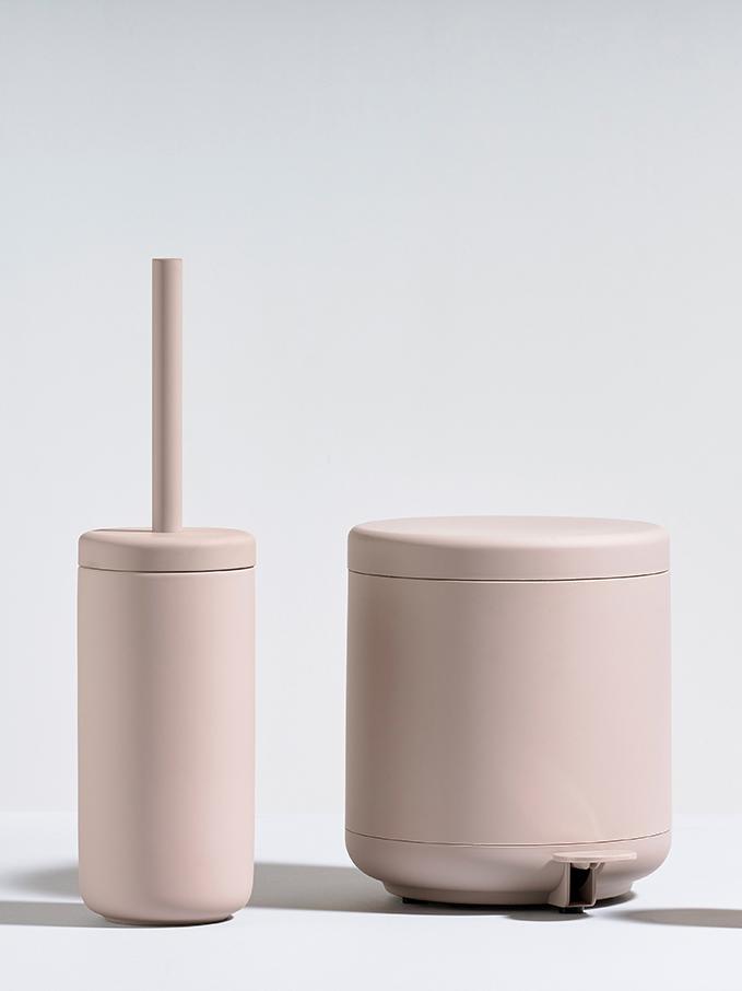 Toiletborstel Ume met keramische houder, Mat poederroze, Ø 10 x H 39 cm