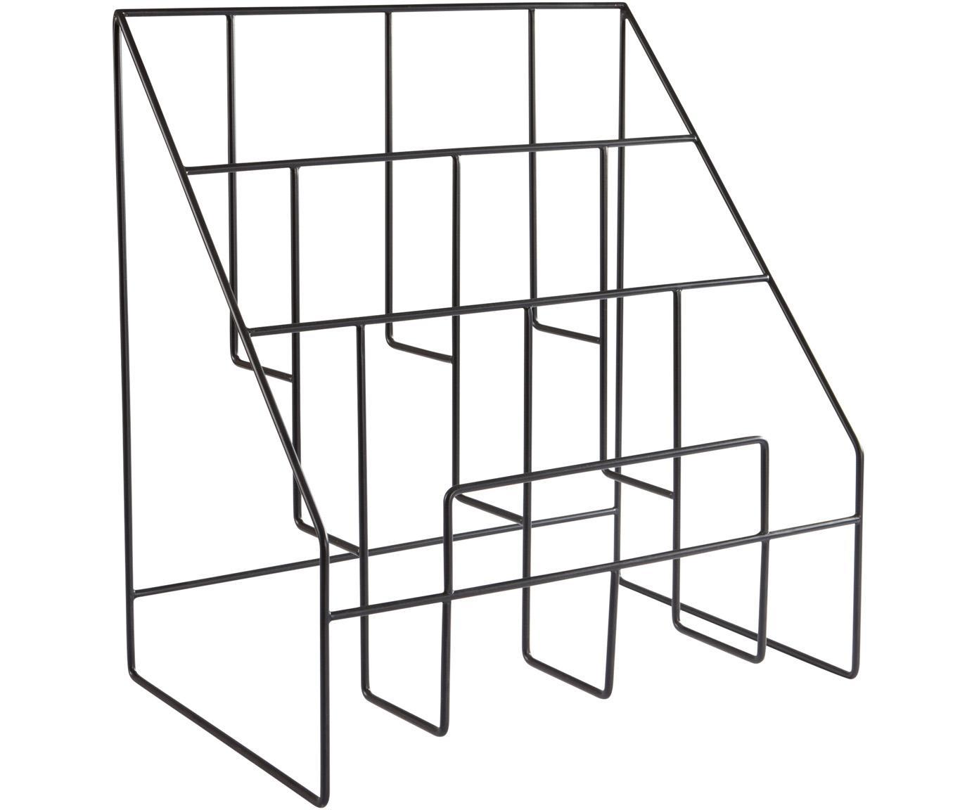Portariviste Freddy, Metallo verniciato, Nero, Larg. 38 x Alt. 41 cm