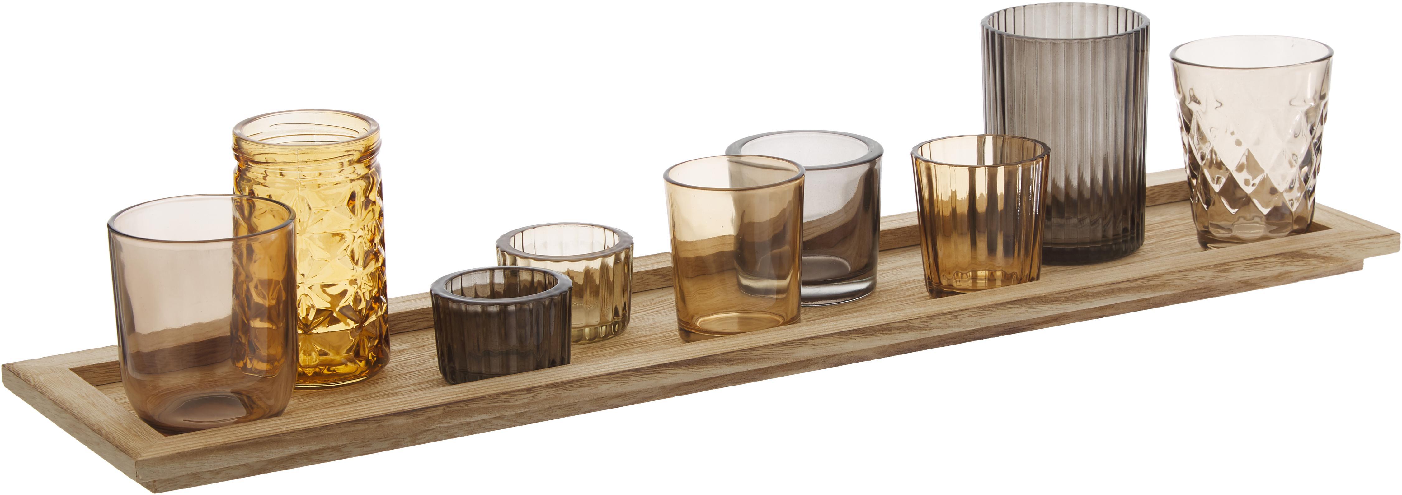 Set de portavelas Wessel, 10pzas., Portavelas: vidrio, Bandeja: madera de Paulownia, Tonos marrones, An 56 x Al 10 cm