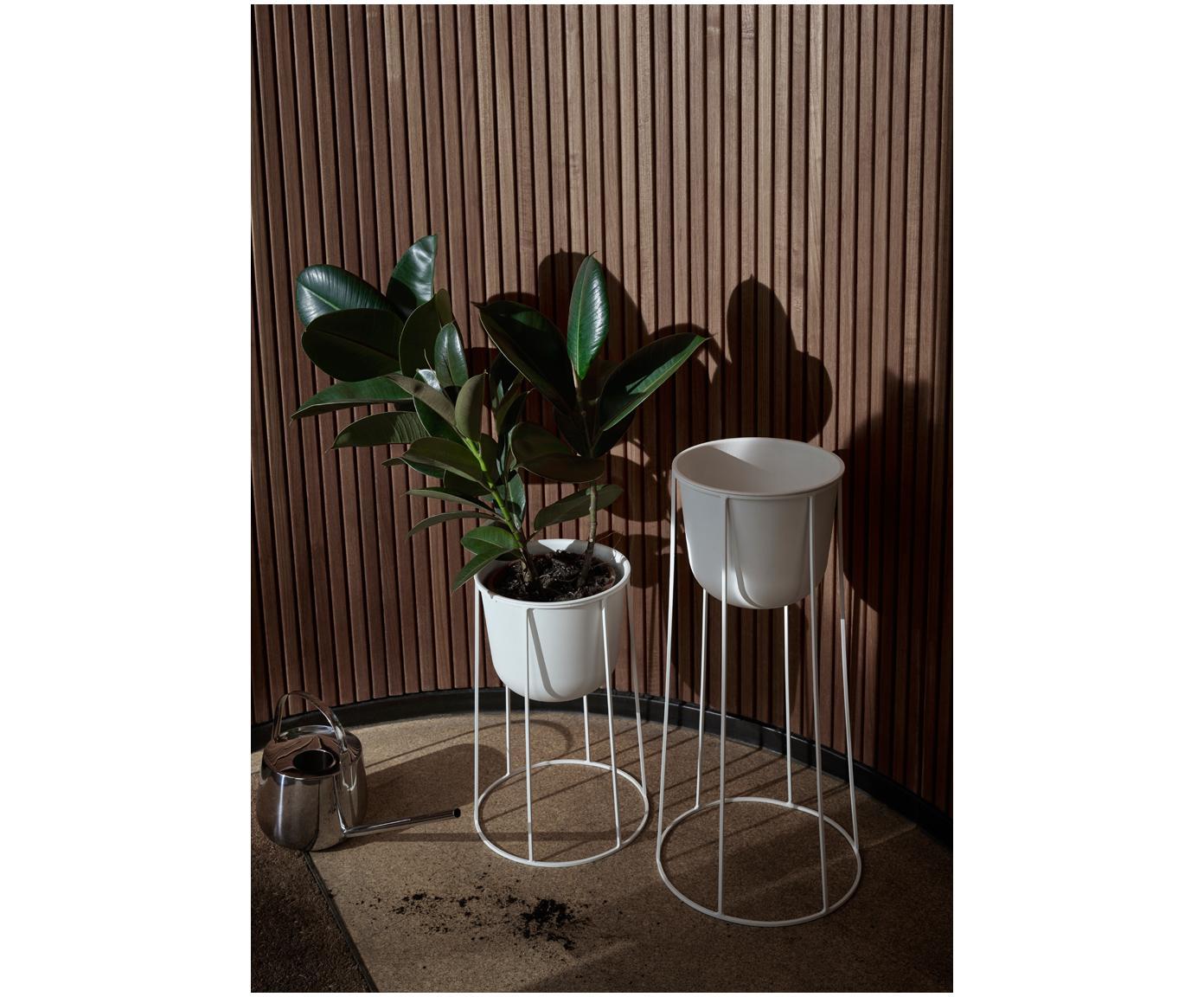 Stojak na doniczkę Wire Base, Stal malowana proszkowo, Biały, Ø 23 x W 60 cm
