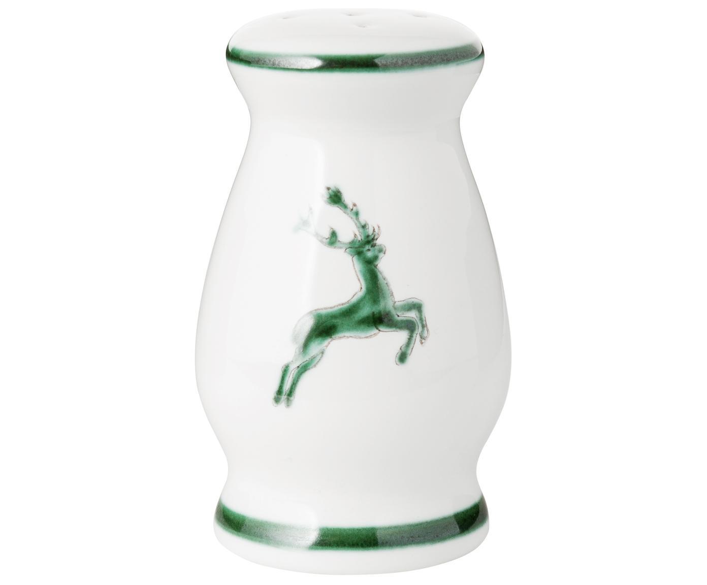 Ręcznie malowana solniczka Gourmet Grüner Hirsch, Ceramika, Zielony, biały, 9 cm