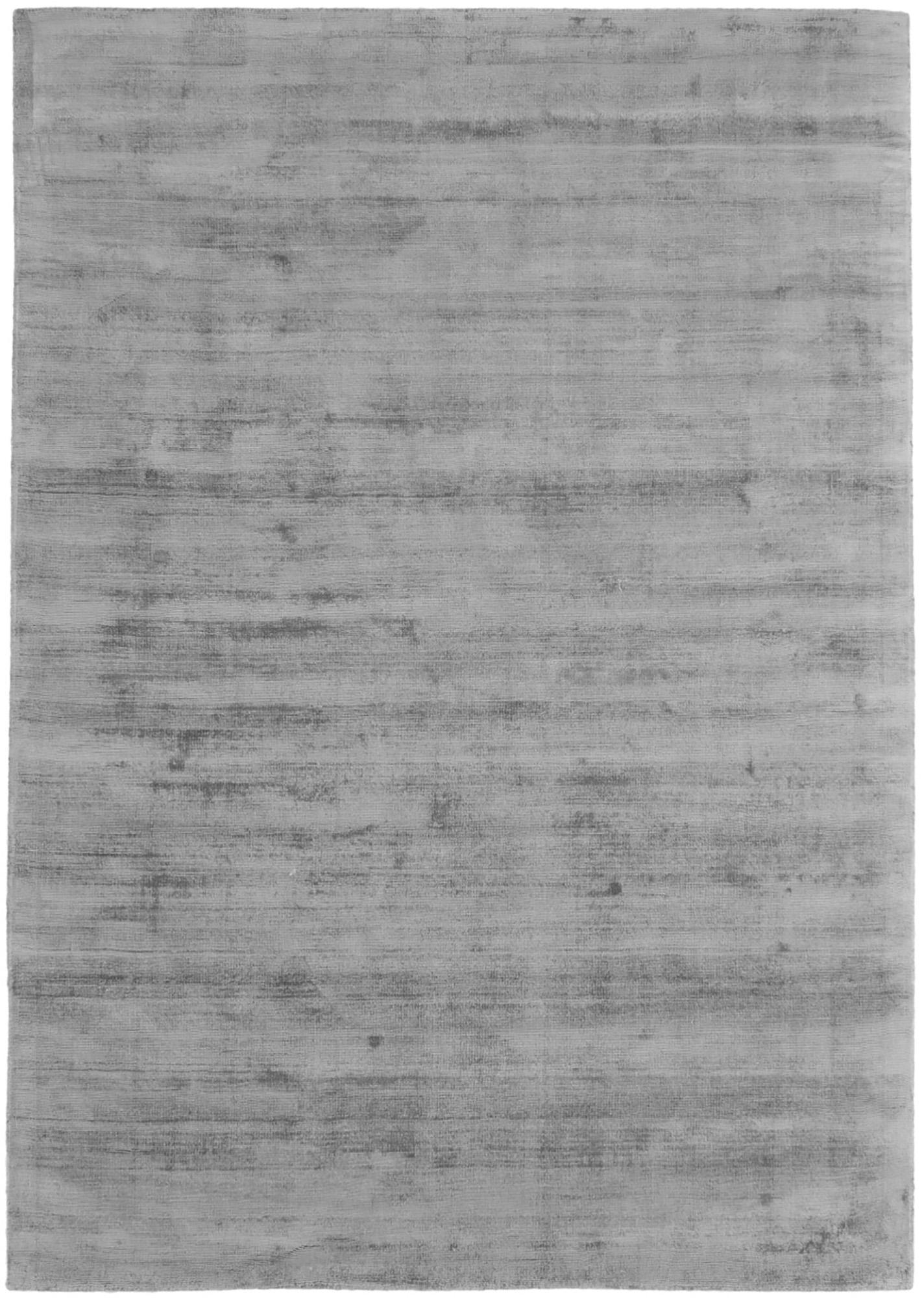 Alfombra artesanal de viscosa Jane, Parte superior: 100%viscosa, Reverso: 100%algodón, Gris, An 160 x L 230 cm (Tamaño M)