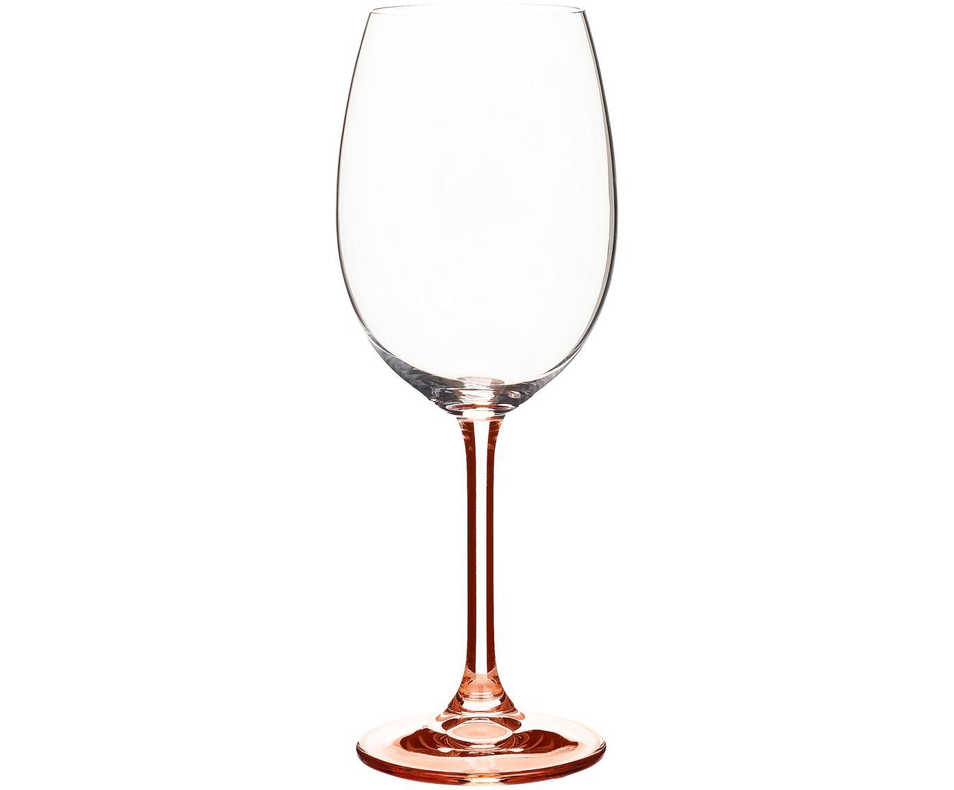 Rode wijnglazen Rose met rosékleurige steel, 4 stuks, Kristalglas, Transparant, roze, 450 ml