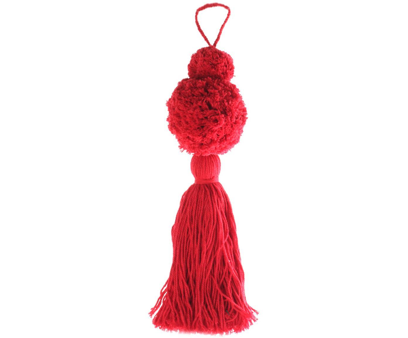 Adornos navideños Pompon, 2uds., Algodón, Rojo, Ø 8 x Al 37 cm
