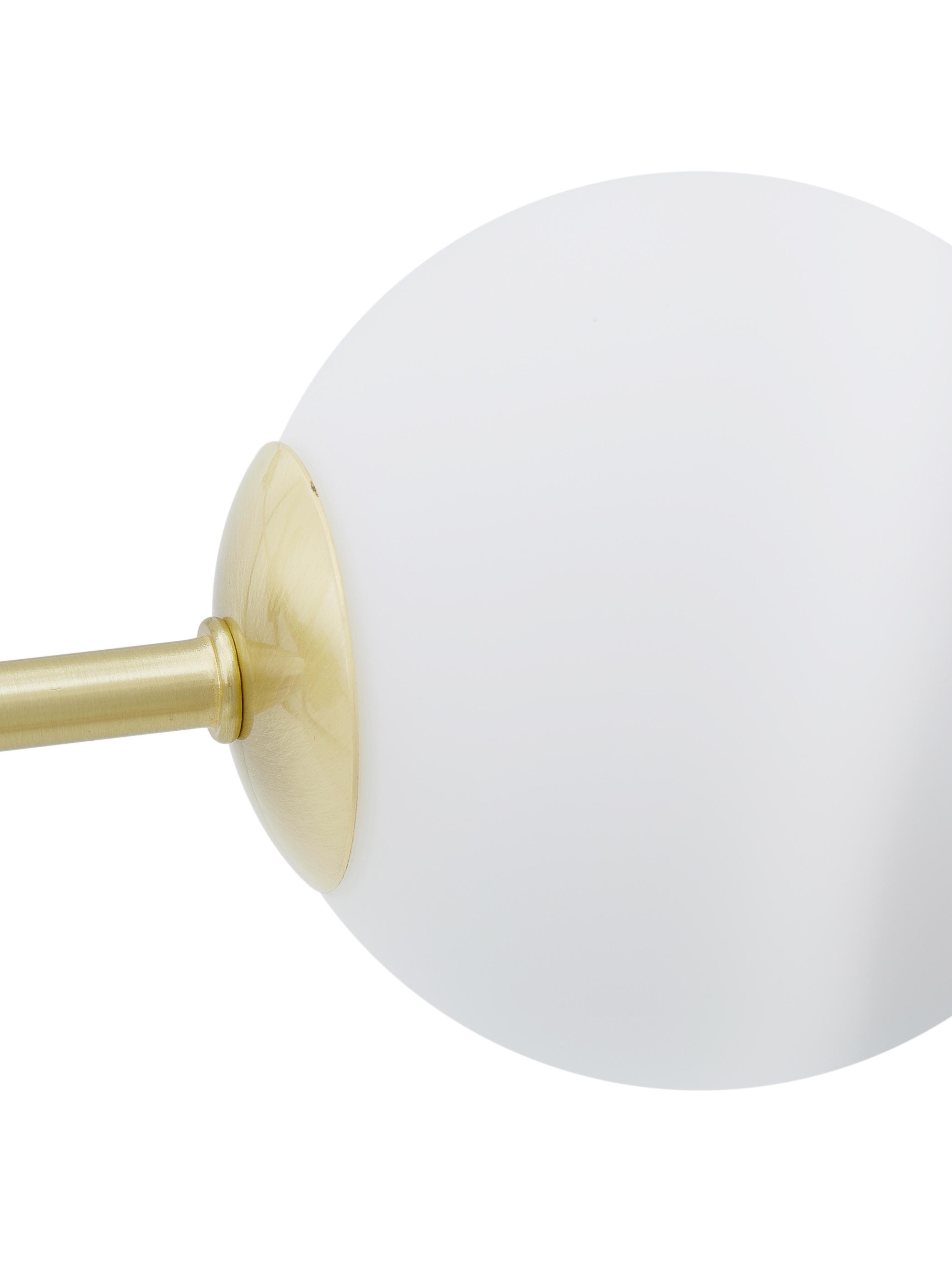 Runde Pendelleuchte Aurelia in Gold, Weiß, Messing, Ø 61 x H 78-134 cm