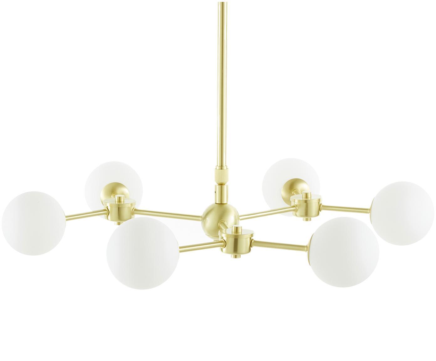 Okrągła lampa wisząca Aurelia, Biały, mosiądz, Ø 61 x W 78-134 cm